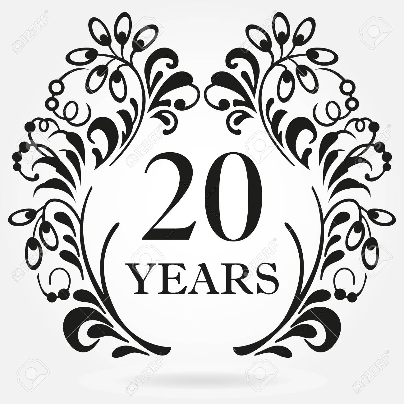20 Years Anniversary Icon In Ornate Frame With Floral Elements Royalty Free Cliparts Vectors And Stock Illustration Image 97305434
