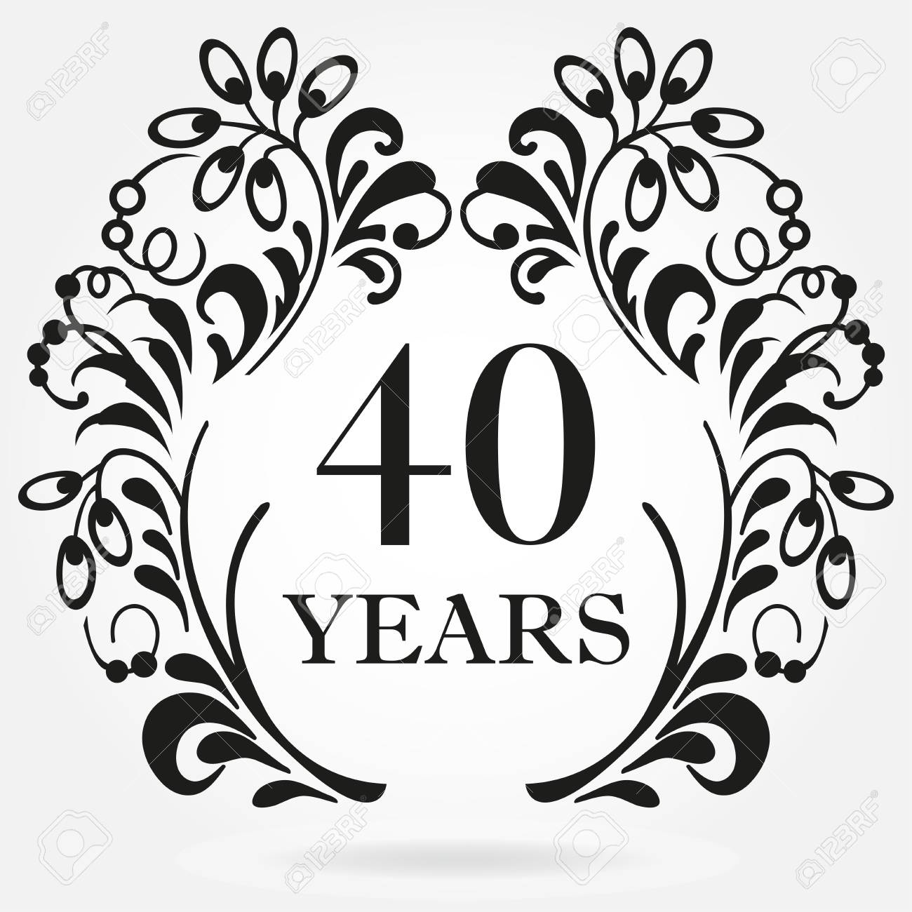 40 Years Anniversary Icon In Ornate Frame With Floral Elements ...