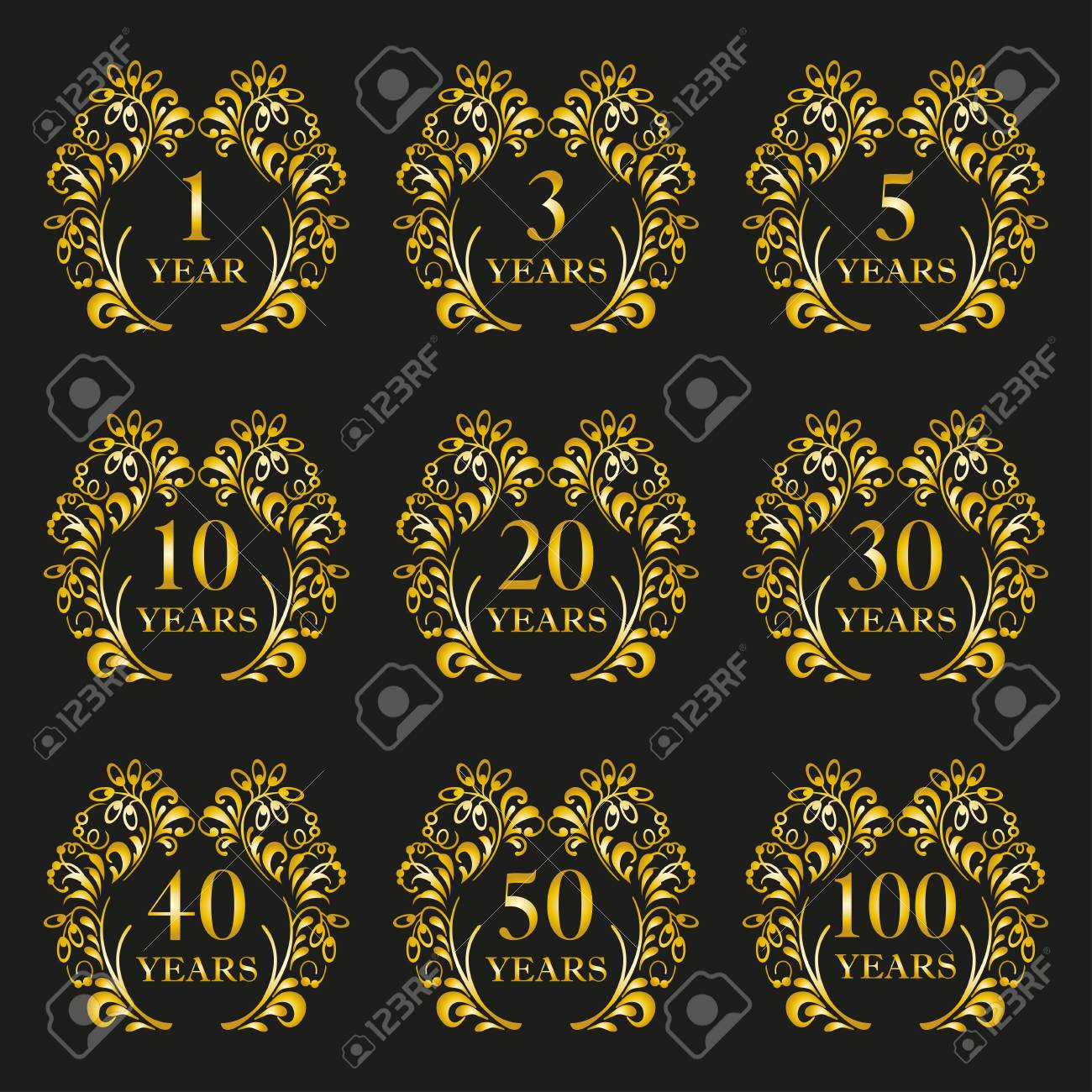 anniversary icon set anniversary symbols in ornate frame with