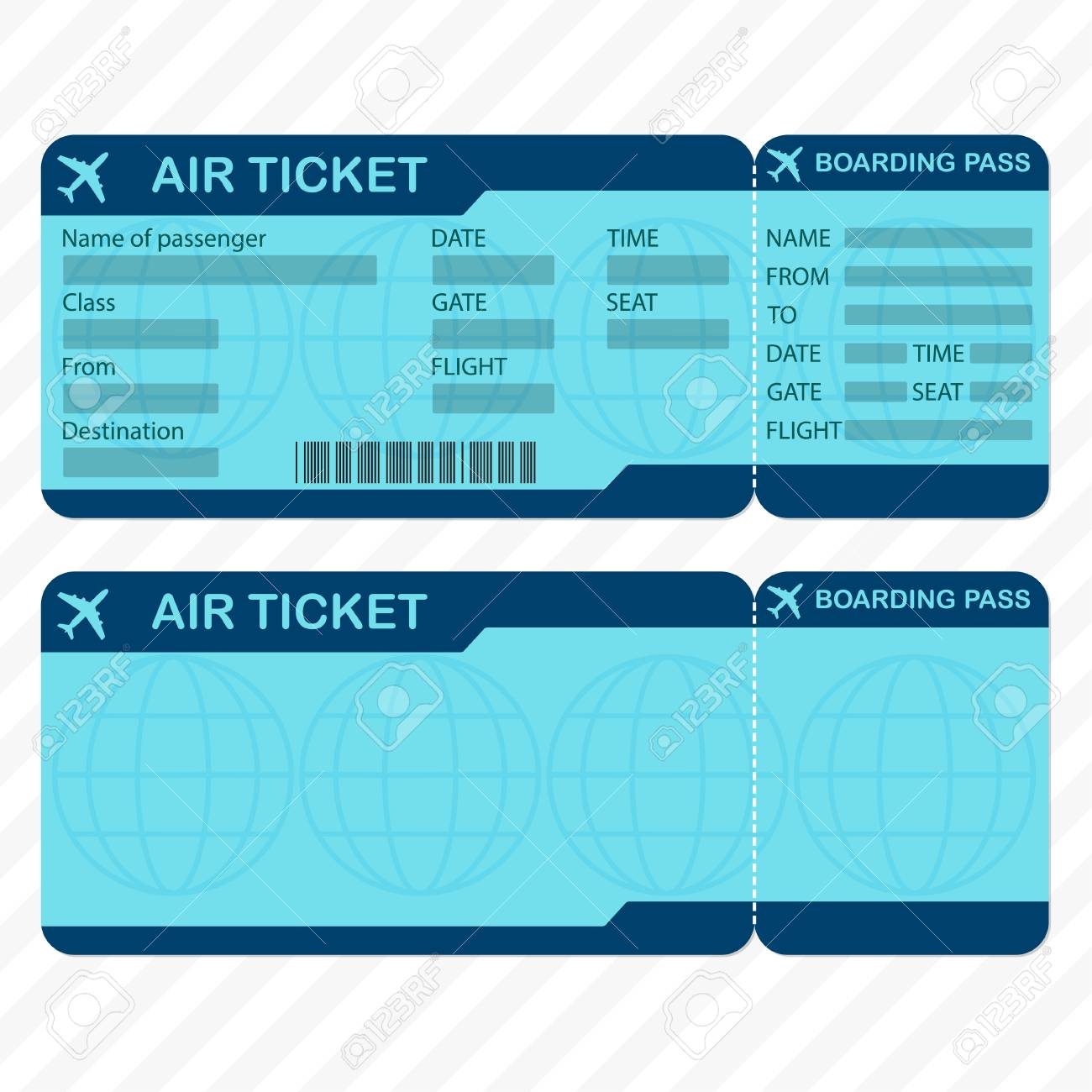 Airline Or Plane Ticket Template Detailed Boarding Pass Blank And Airplane Vector Illustration