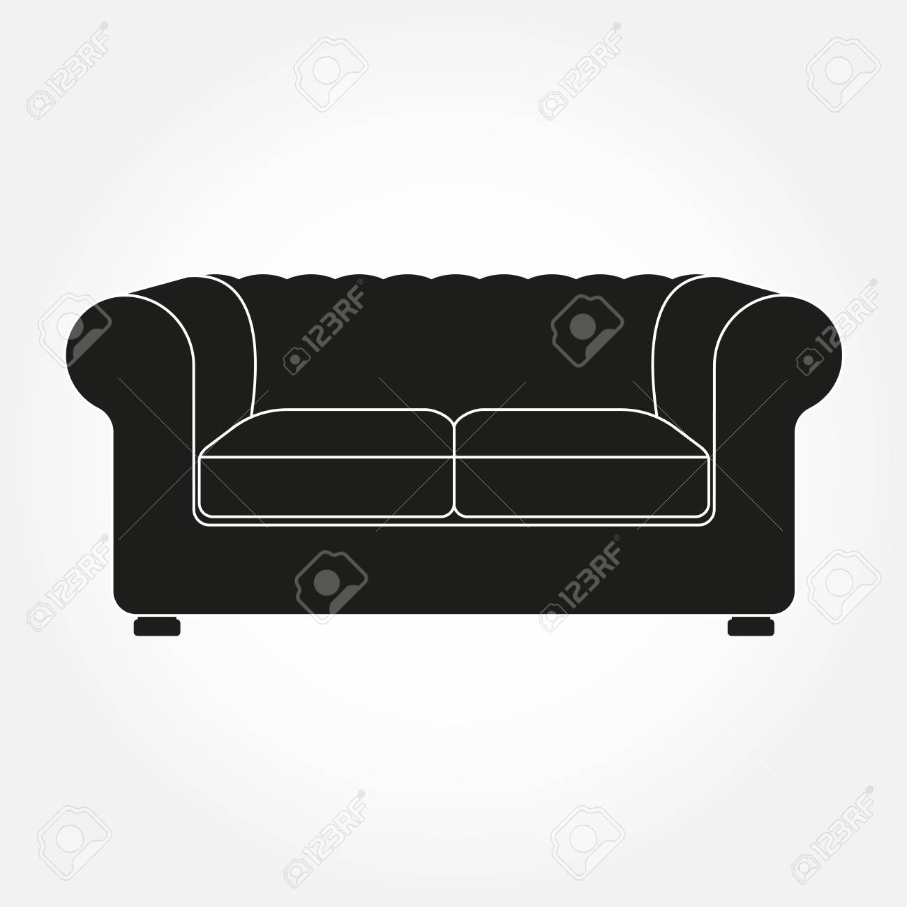 Sofa Icon. Vintage And Old Style Sofa. Furniture Icon. Vector ...