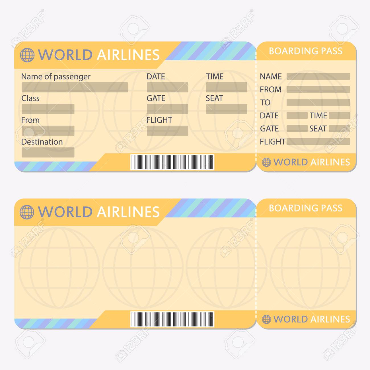 Airline Or Plane Ticket Template Boarding Pass Blank And Airplane Vector Illustration