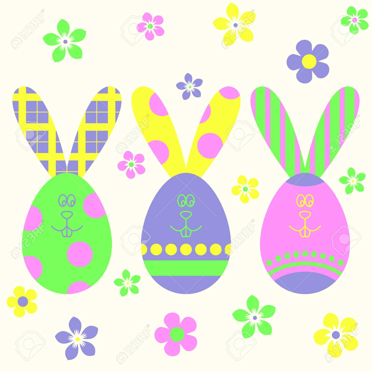 Easter Eggs And Easter Bunny Template Easter Background Colorful