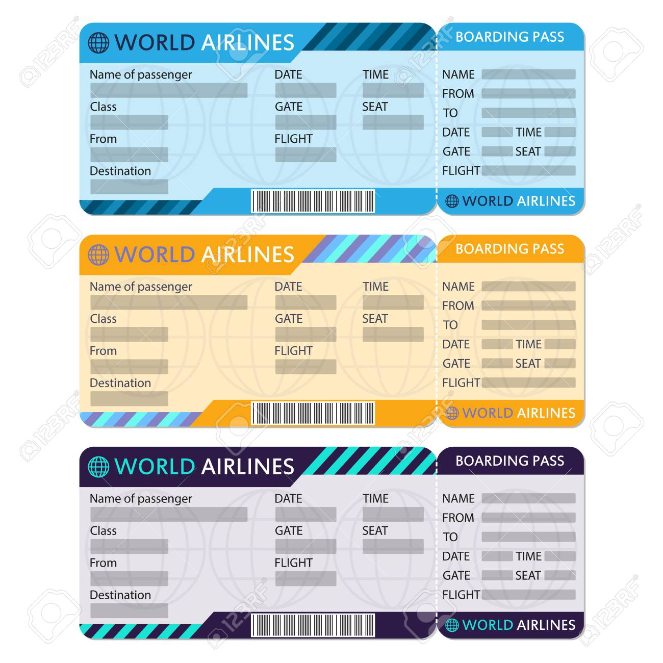 Airline Or Plane Ticket Set Boarding Pass Blank And Airplane