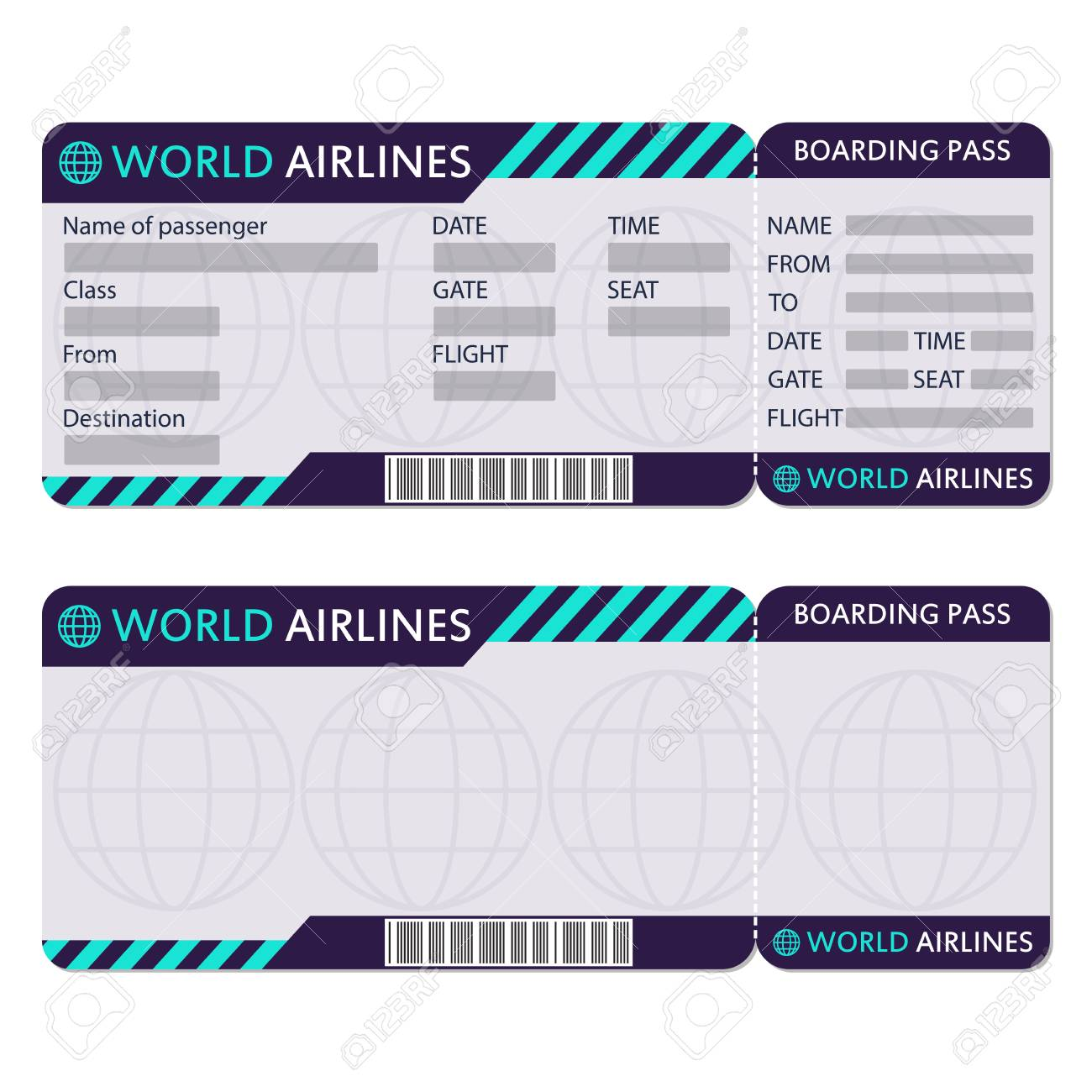 Airline Or Plane Ticket Boarding Pass Blank And Airplane Ticket