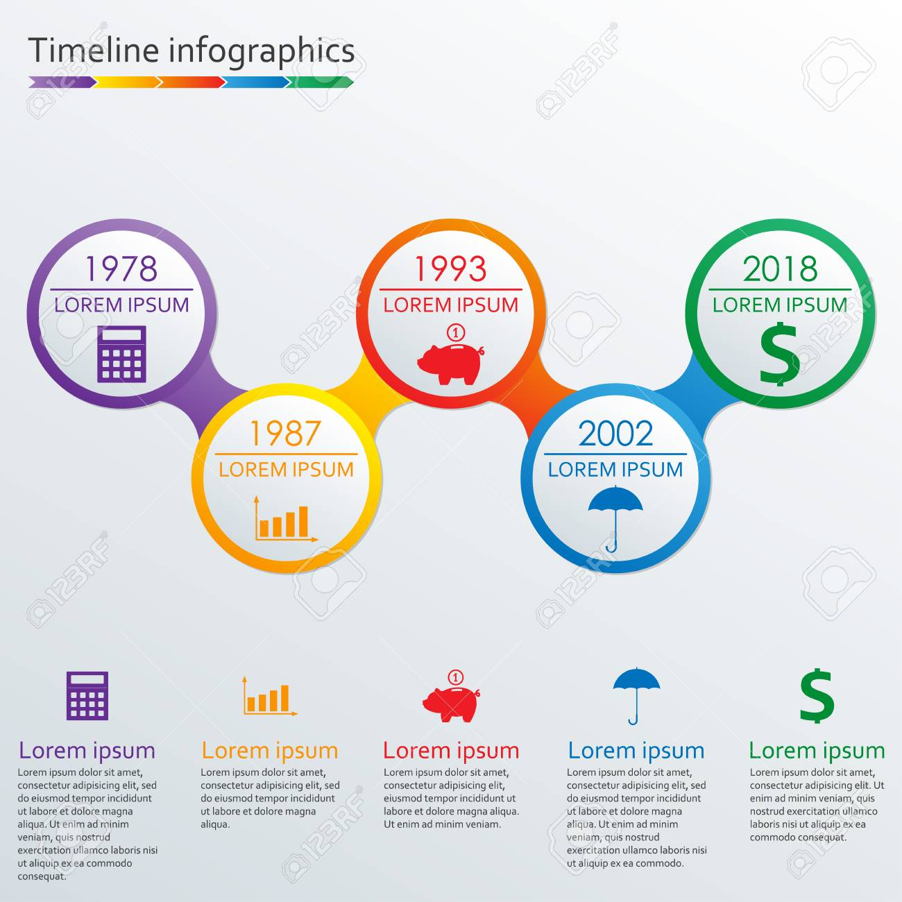 timeline infographics template. horizontal timeline infographic