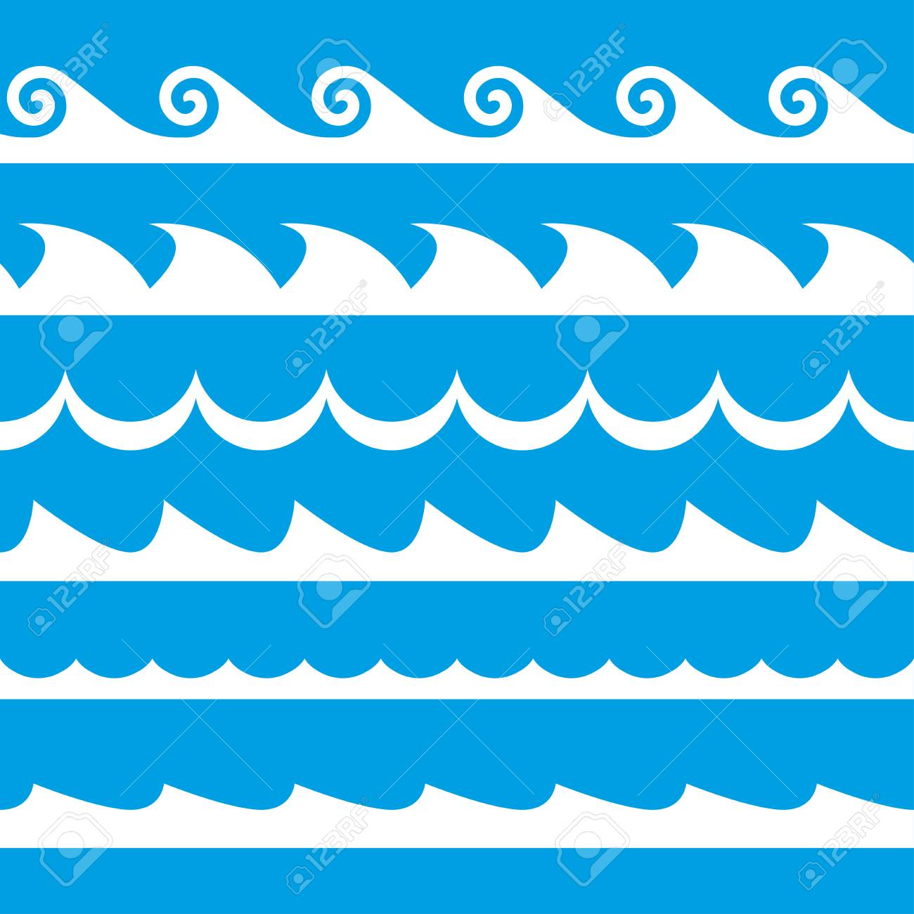 wave set waves seamless pattern decoration template of sea