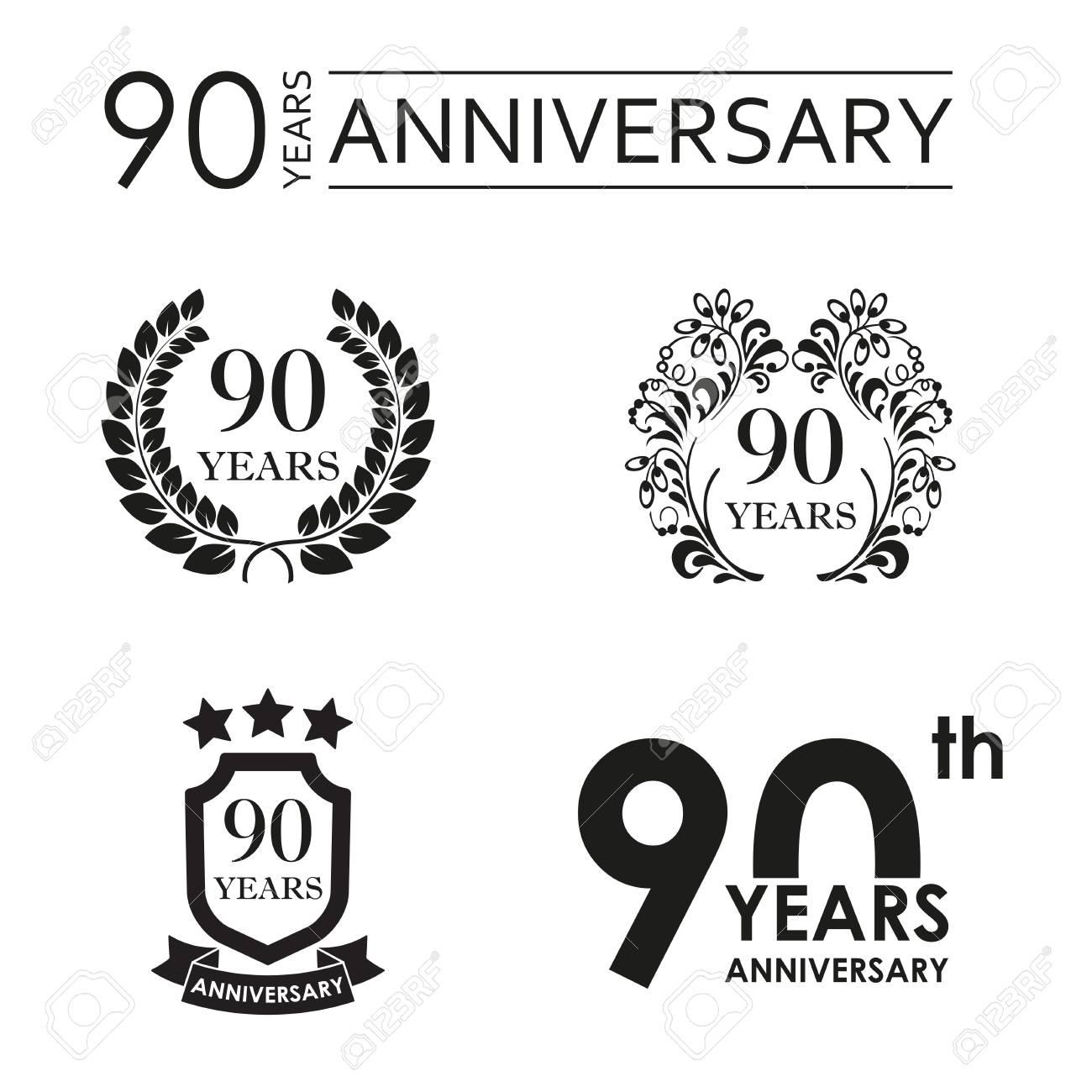 90 Años De Aniversario Icono De Aniversario Emblema O 90 Años Celebración Frase De Celebración Y El Elemento De Diseño De La Historieta Ilustración