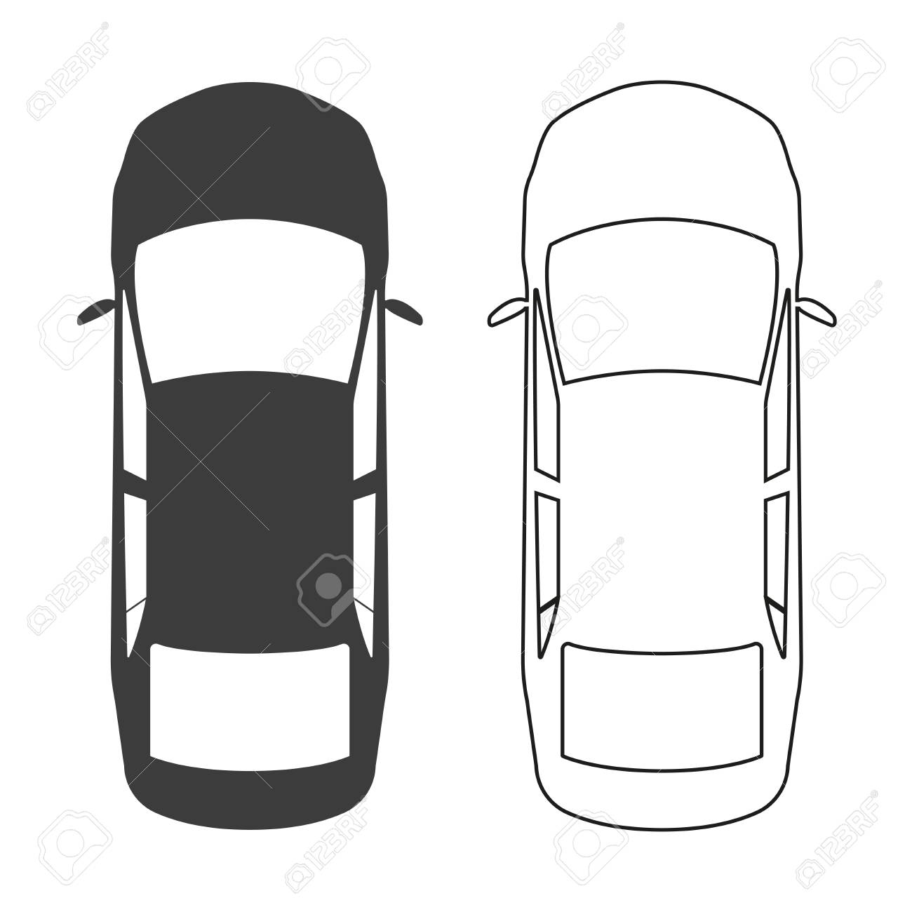 Car Icon Top View Vector Illustration Royalty Free Cliparts