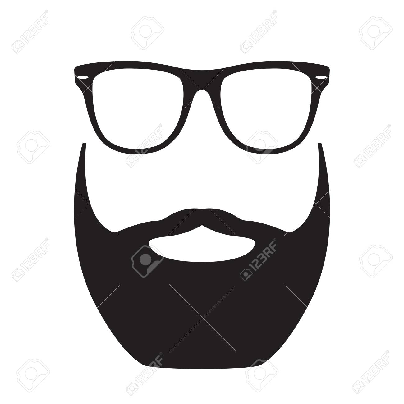 9fc9b3da12a Beard with Glasses. Hipster face silhouette. Vector illustration. Stock  Vector - 109759463