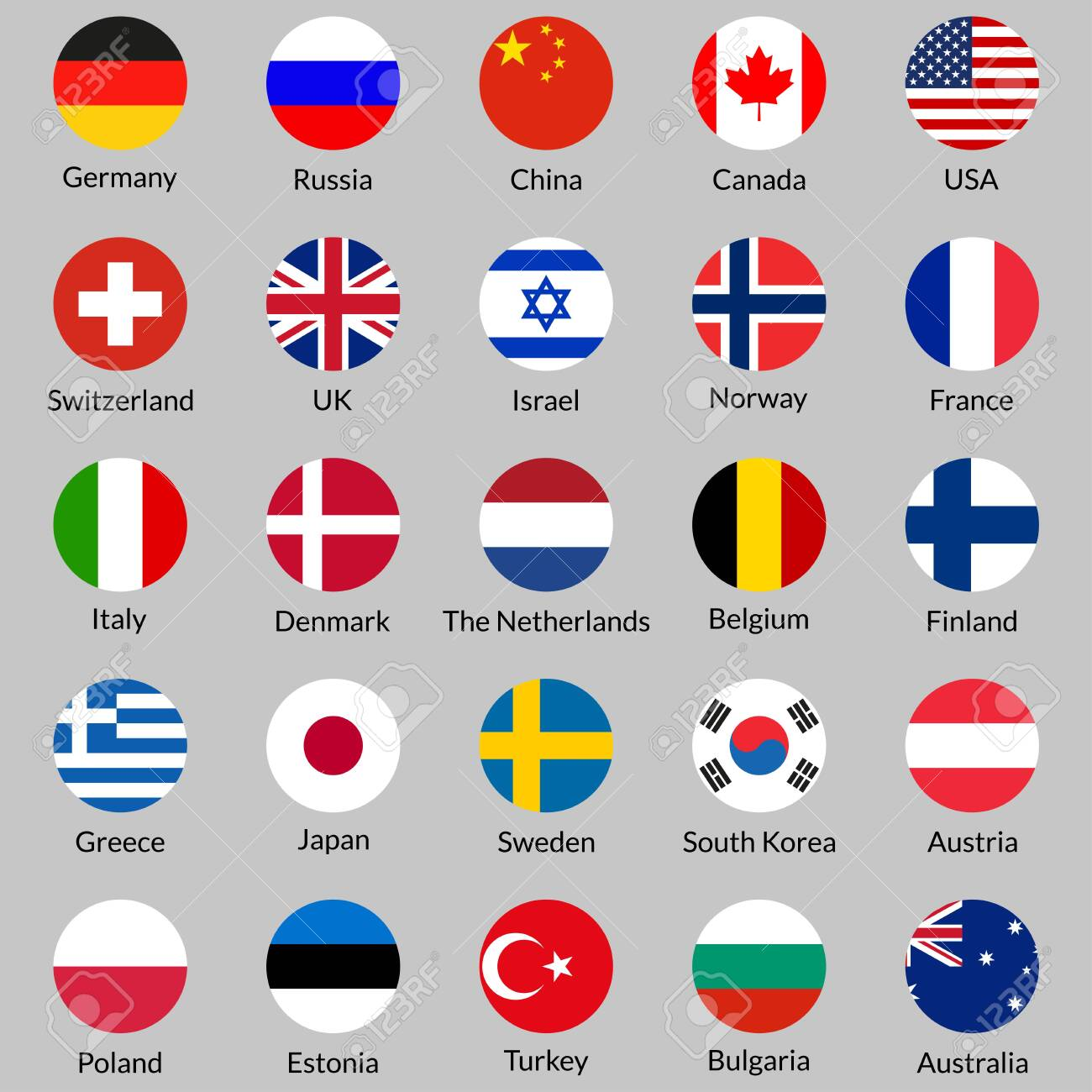Flag Icon Set Round Or Circle Flags Of Usa Uk Holland Germany Royalty Free Cliparts Vectors And Stock Illustration Image 128901637