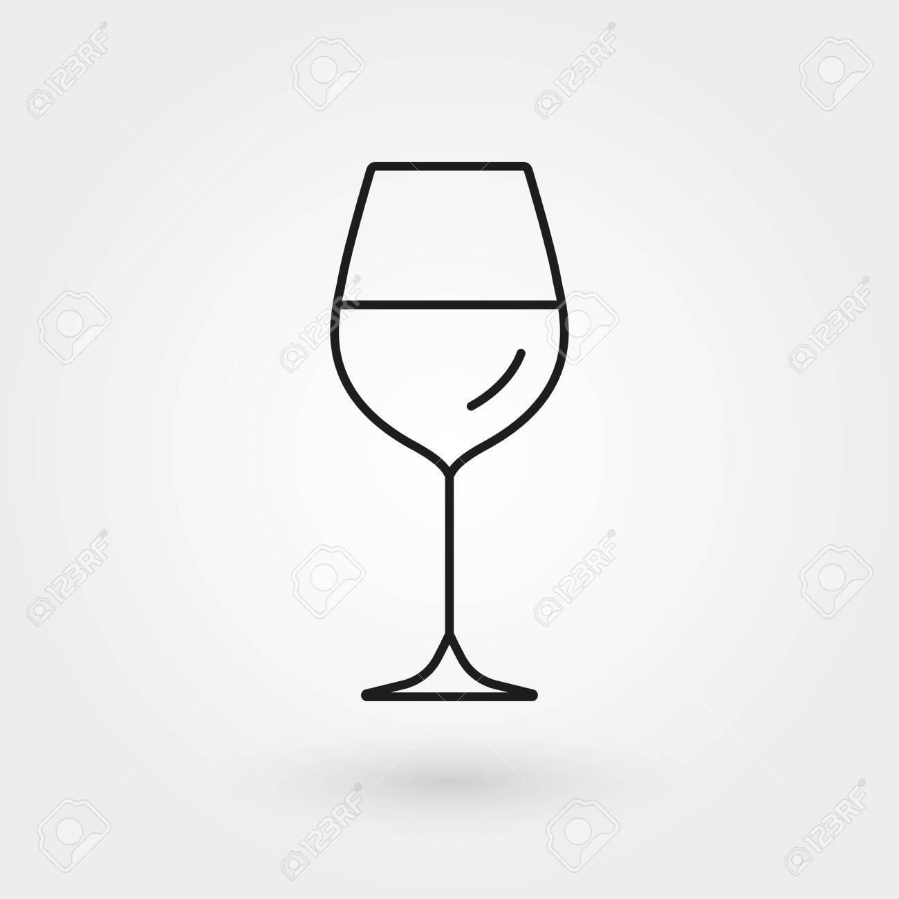 Wine glass outline icon. Vector illustration. - 128901474