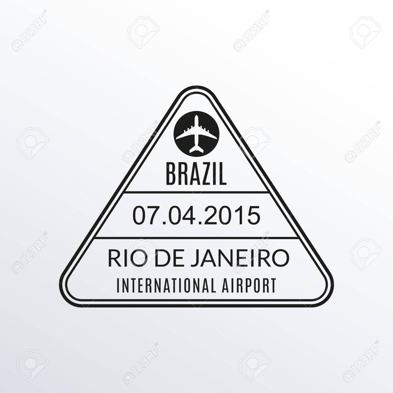 Rio de Janeiro passport stamp. Brazil airport visa stamp or immigration sign. Custom control cachet. Vector illustration. - 139017249