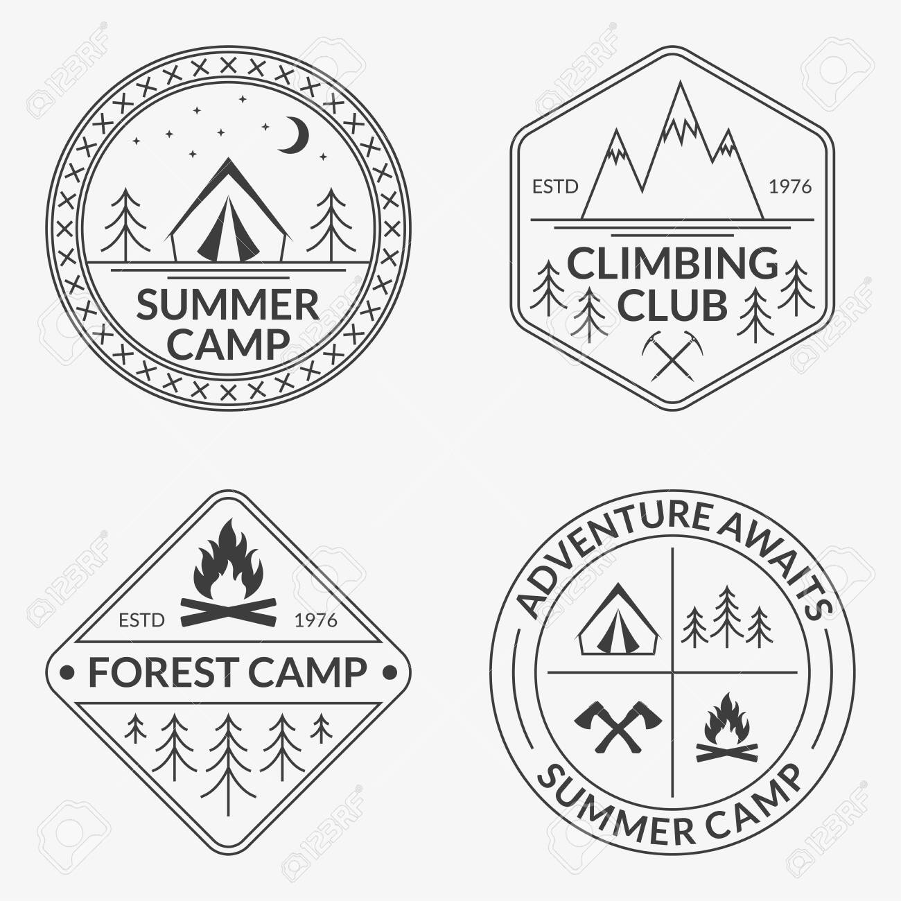 Camp icon set. Summer and forest camping badges. Mountain and Rock Climbing emblem. - 151022974