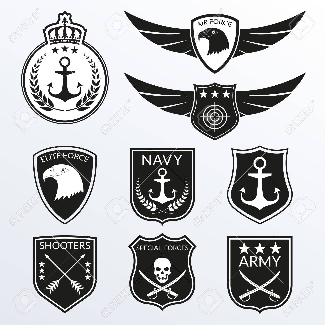 Army and Military badge and logo set. Air Force emblem with Wings and Eagle head. Navy labels with anchor. Military patches with skull. Vector illustration. - 151541204