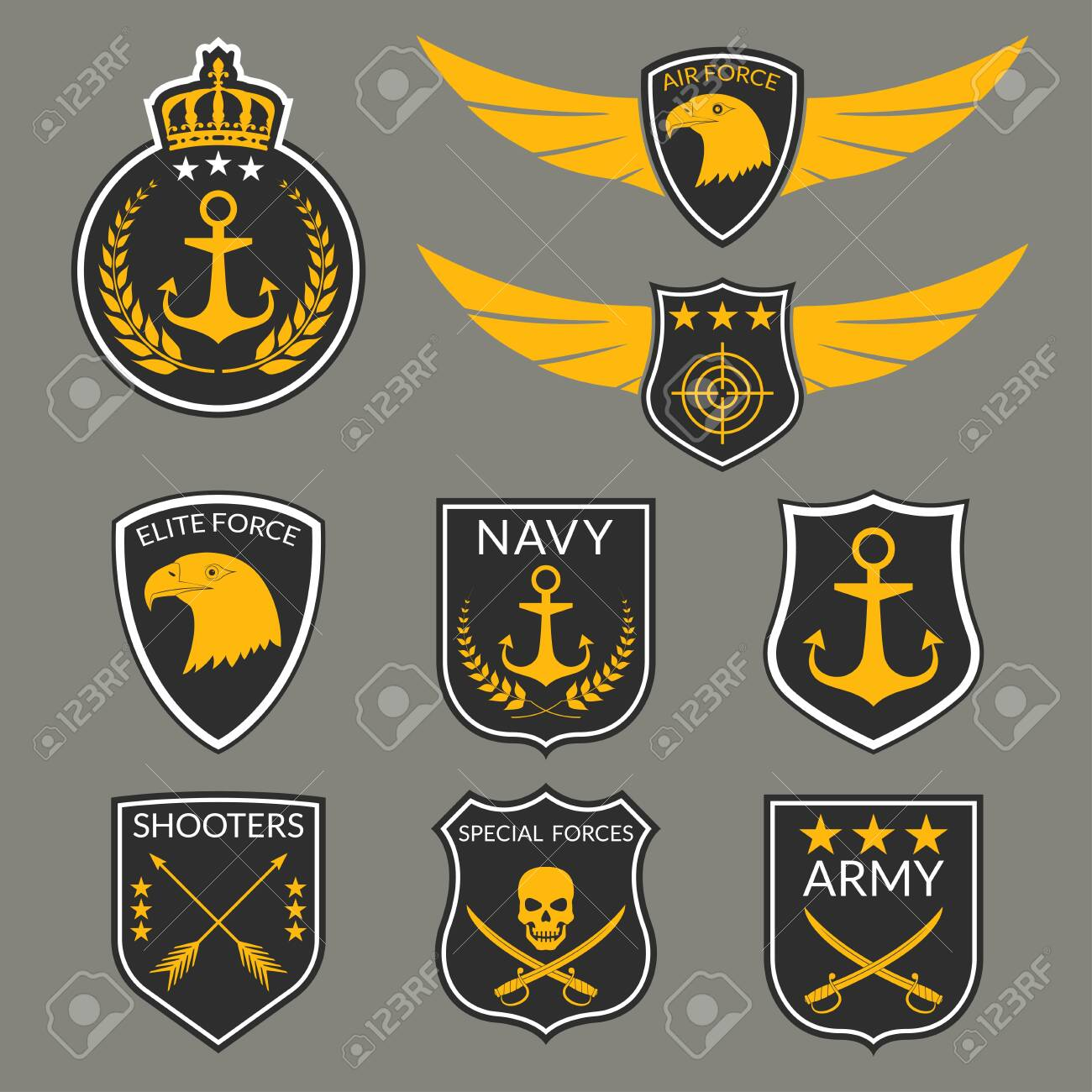 army and military badge and logo set. air force emblem with wings.. royalty  free cliparts, vectors, and stock illustration. image 151809586.  123rf