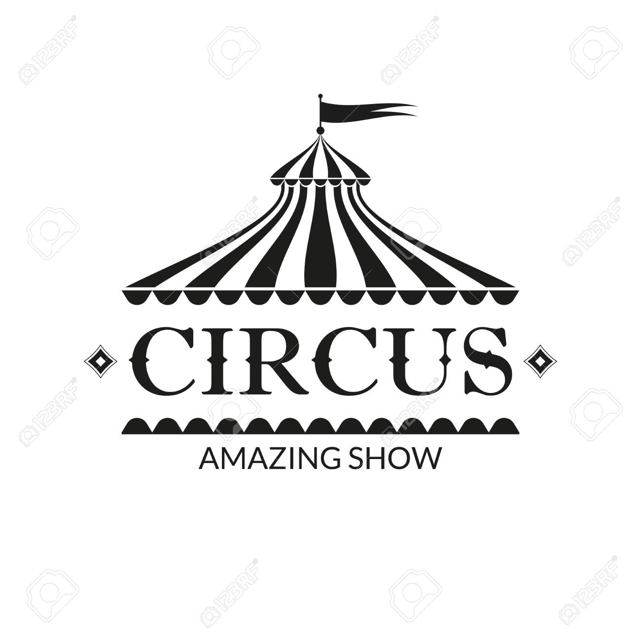 Circus badge or label with circus tent. Carnival poster or banner. Amusement show design element with vintage marquee. Vector illustration. - 152775619