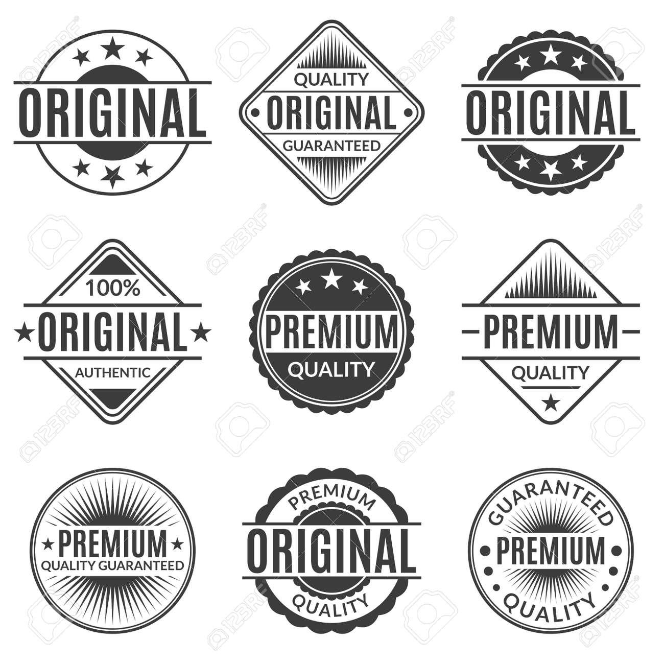 Original and Premium quality stamp or seal set. Guarantee label, emblem or badge collection. Vector illustration. - 152838935
