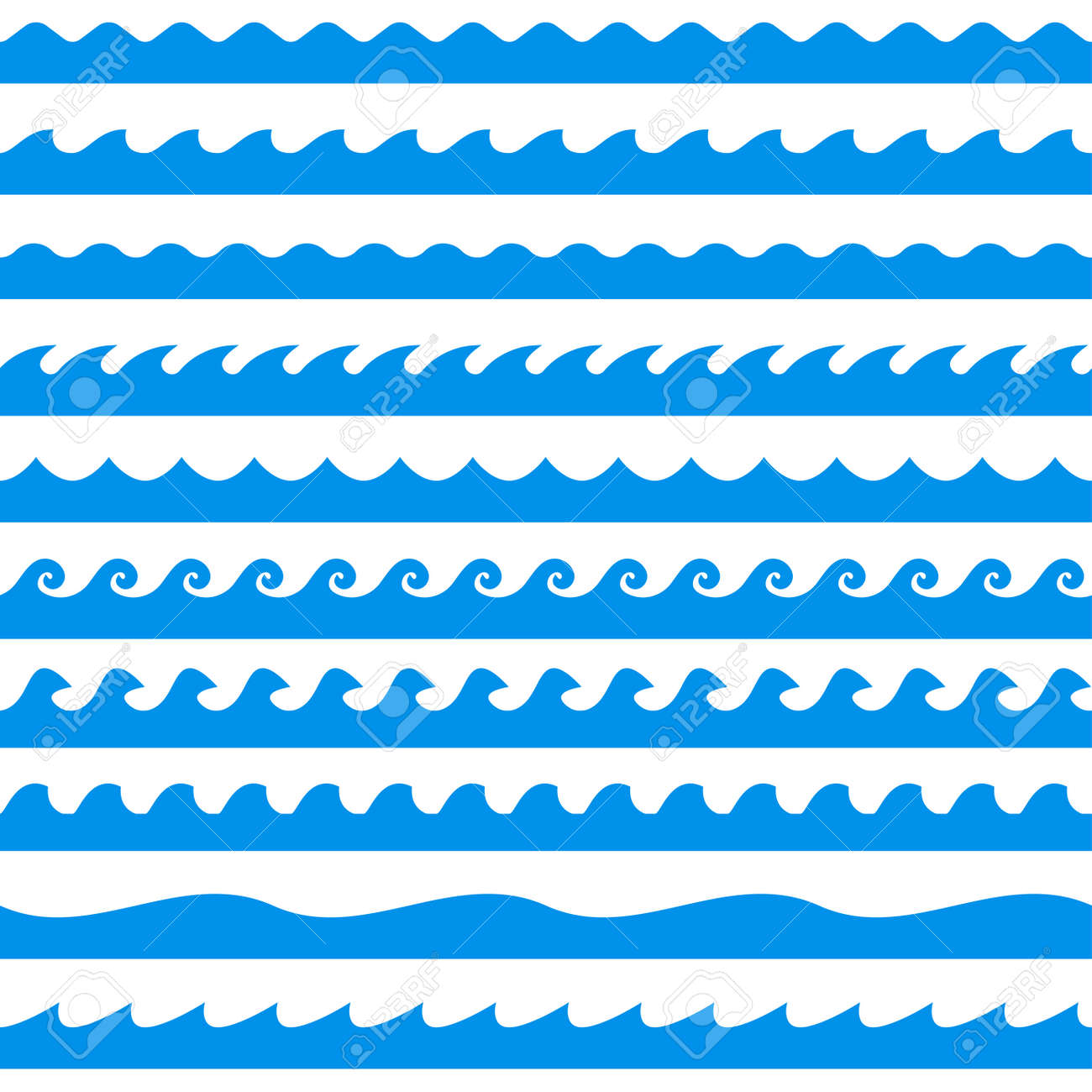 Water wave set. Line waves seamless pattern collection. Sea and Ocean graphic design. Vector illustration. - 157078132