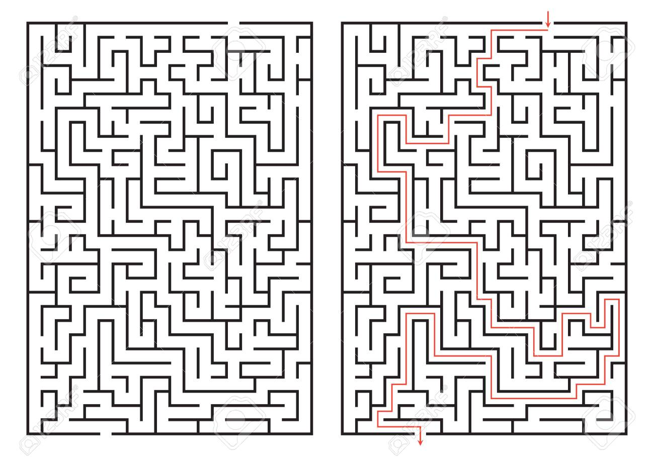 Labyrinth game. Maze or puzzle design. Find the way and right solution for exit. Vector illustration. - 157925561