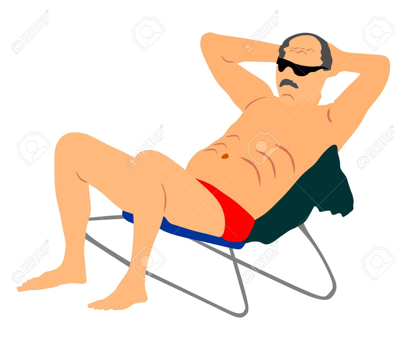 Beach Chair Vector retired old man on vacation sitting in beach chair, vector