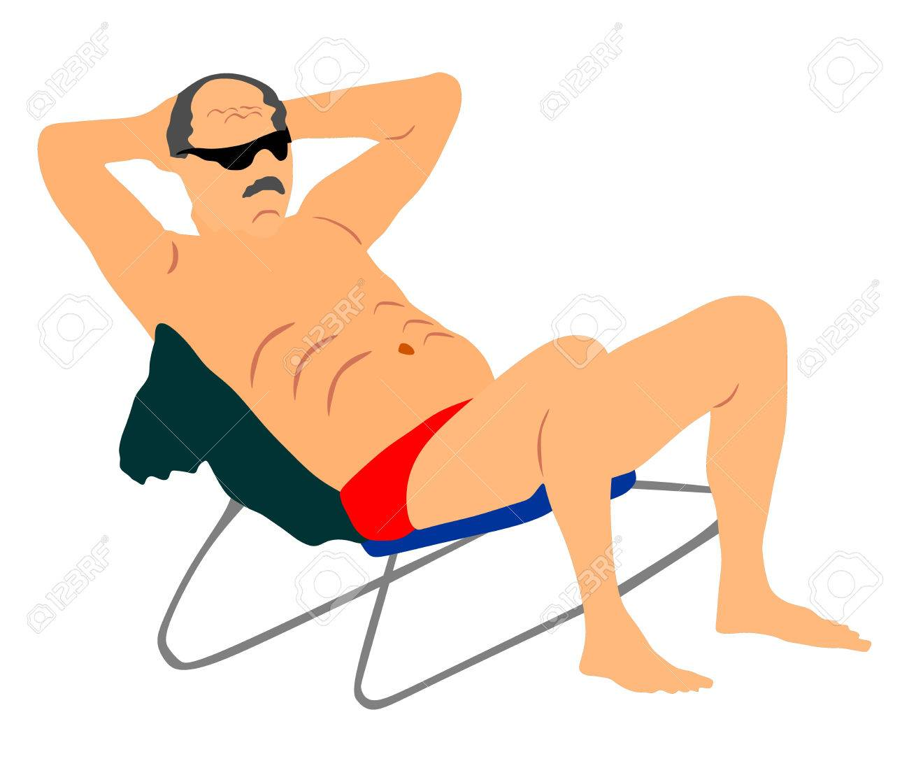 retired old man on vacation sitting in beach chair, vector