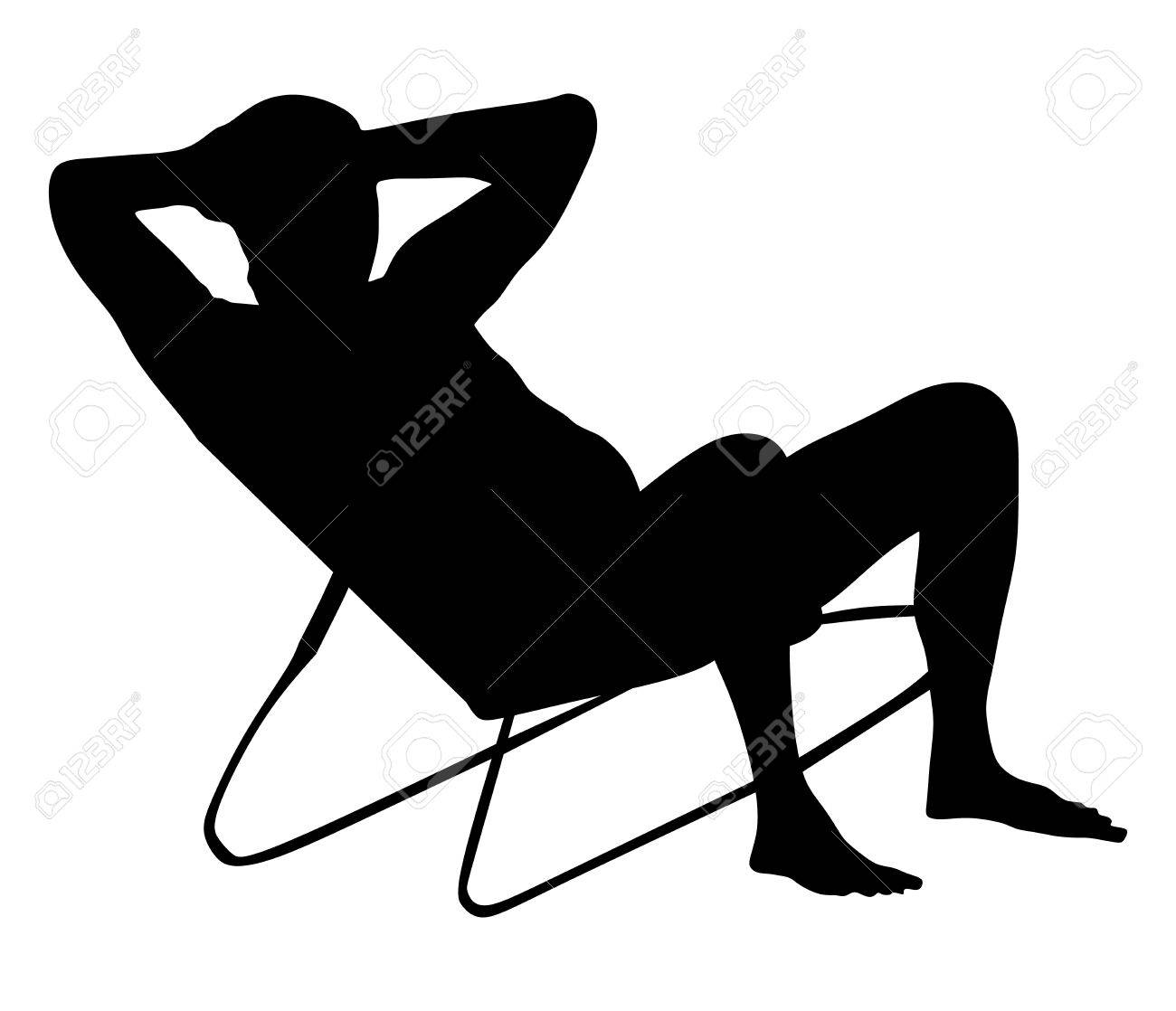 Retired old man on vacation sitting in beach chair, vector silhouette..