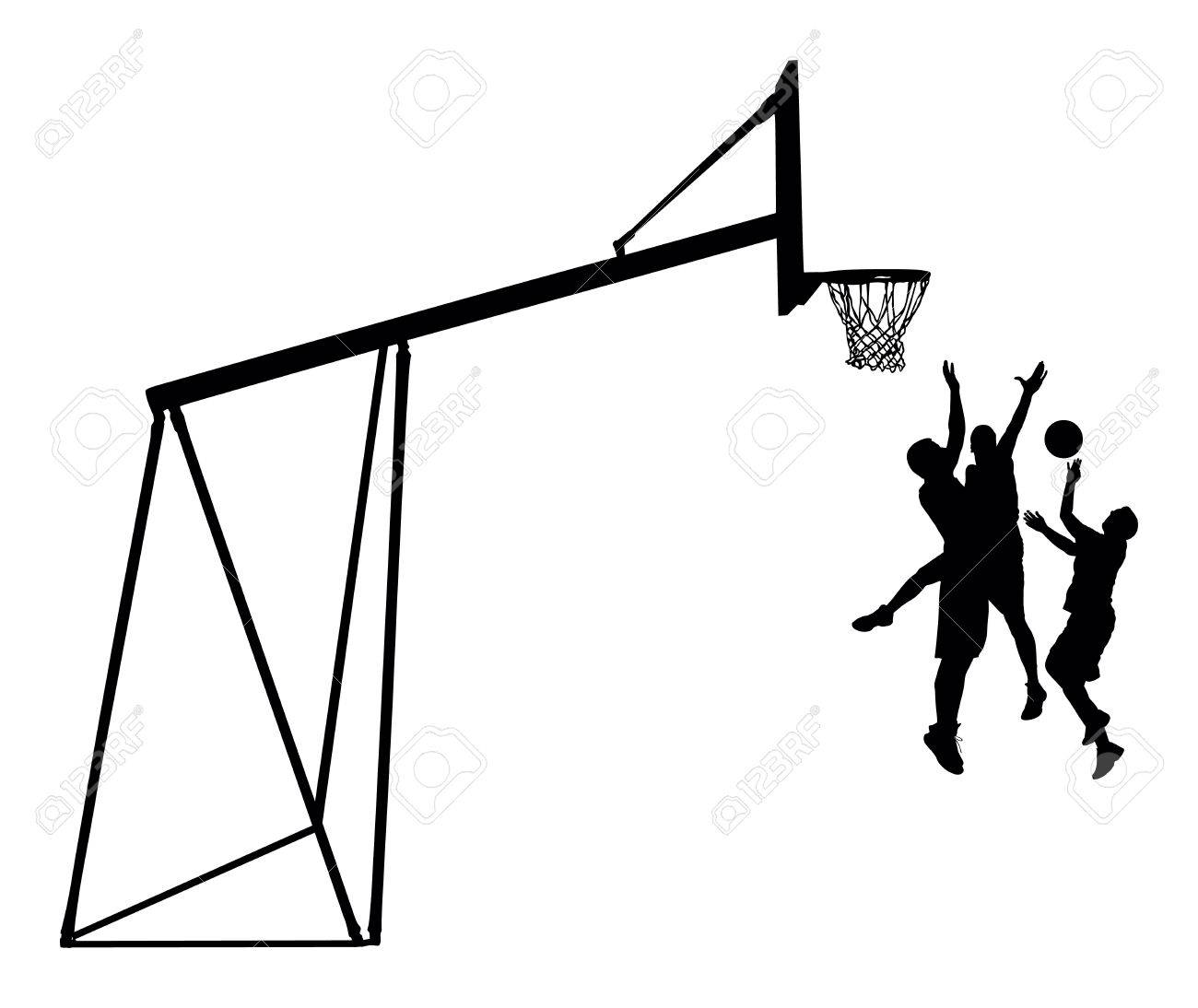 basketball players black silhouette vector illustration isolated on