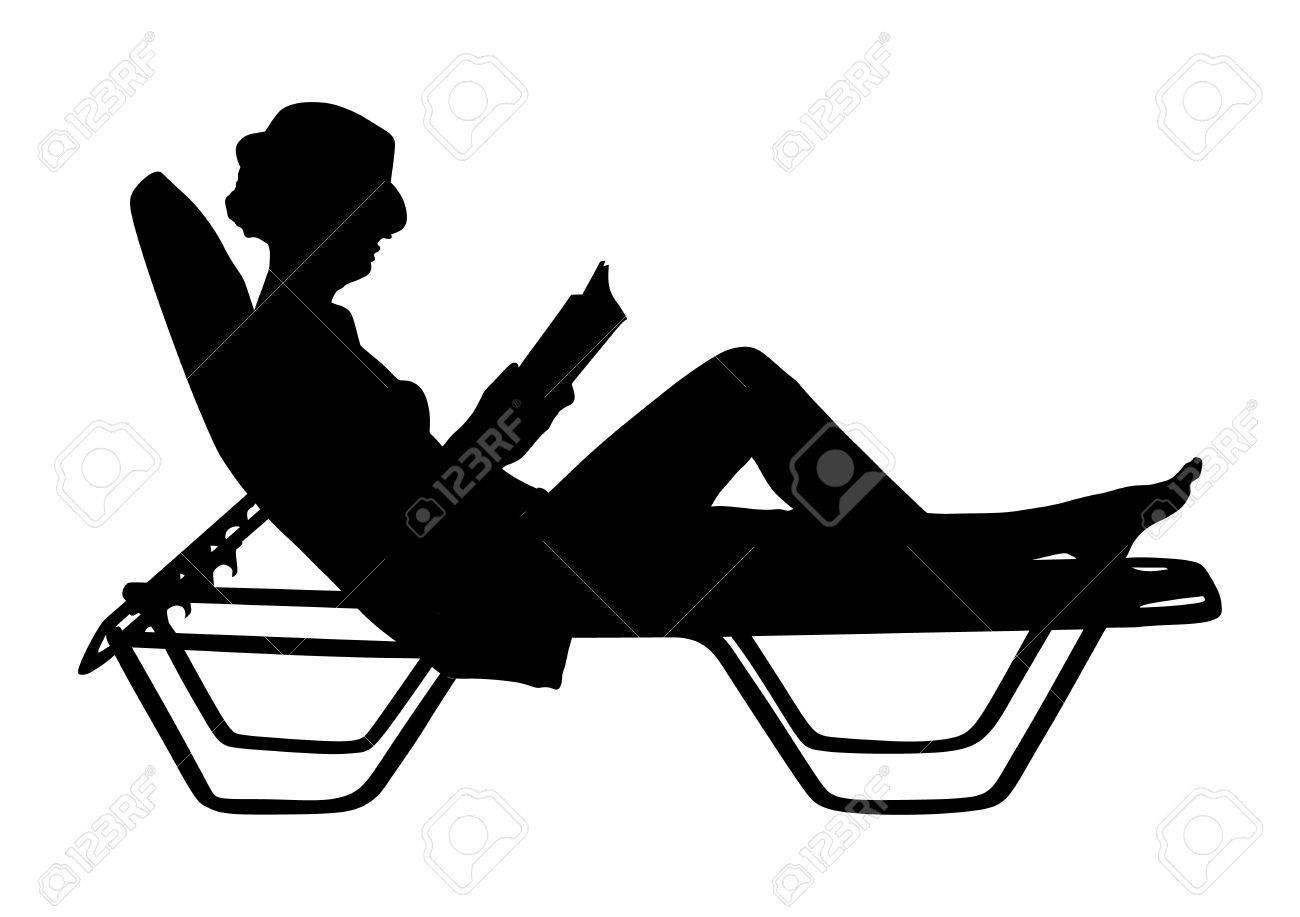 Young beautiful woman lying down on sun bed sofa lounge chair..