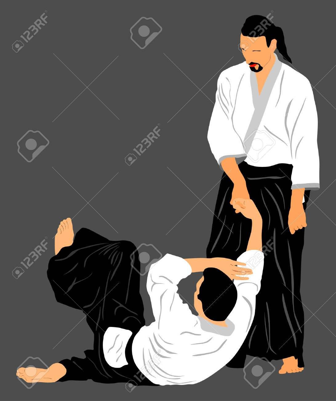Fight between two aikido fighters vector silhouette symbol illustration. Sparring on training action. Self defense, defence art excercising concept. - 60856188