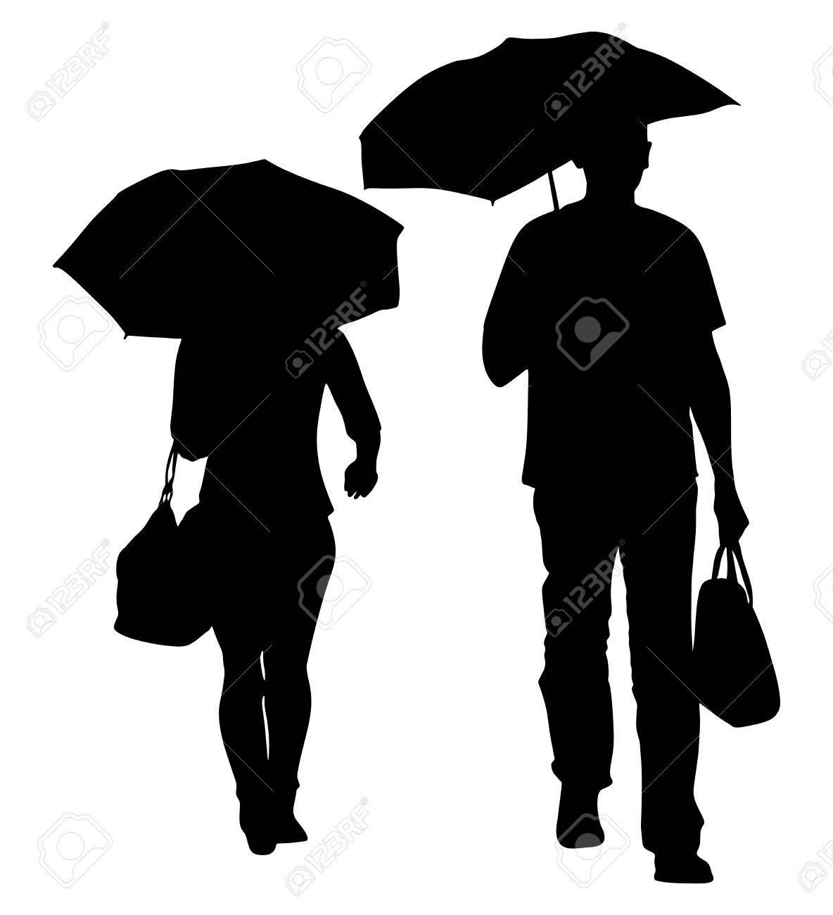傘とバッグのベクトル シルエット イラストと雨の中を歩く男。傘ベクトル