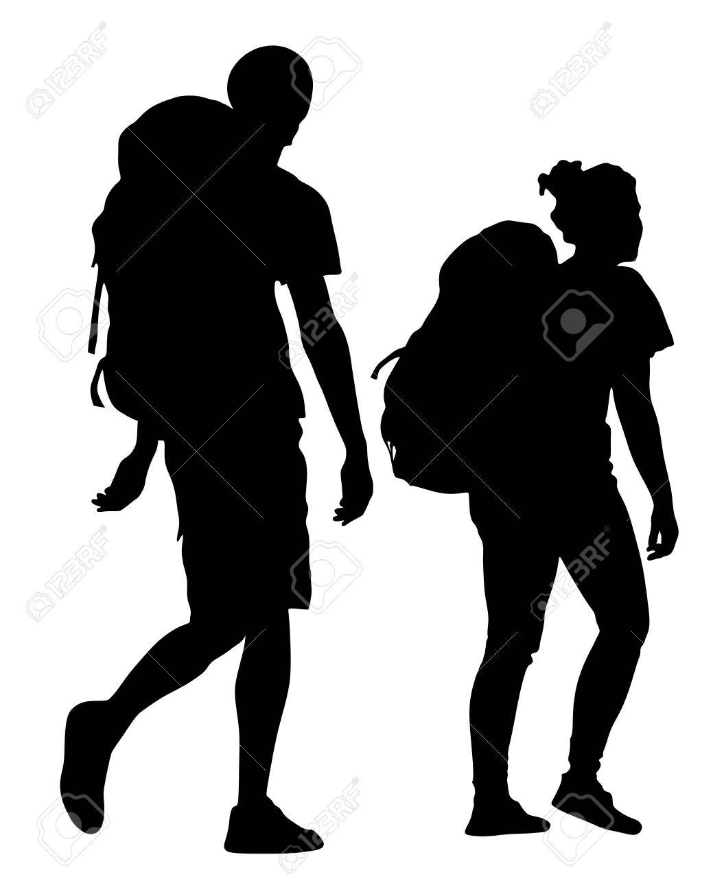 Tourists couple with backpacks vector silhouette illustration isolated on white background. - 70087697