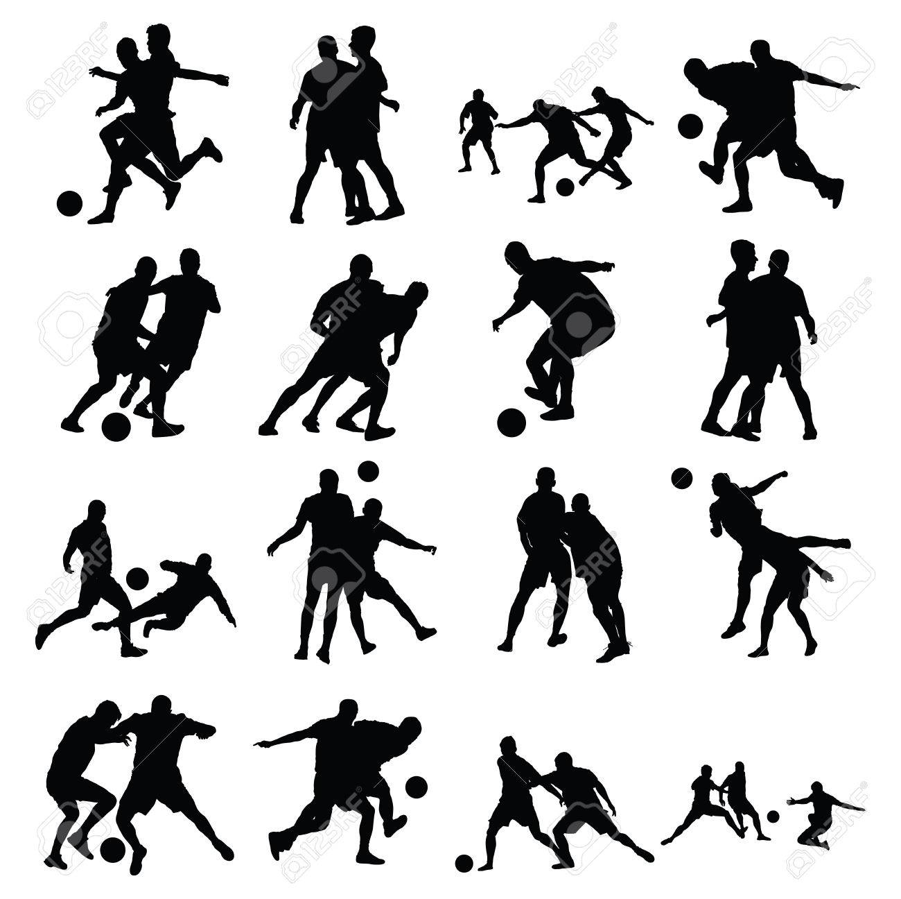 Different poses of soccer players vector silhouette isolated on white background. Very high quality detailed soccer football editable players cutout outlines. - 60856238