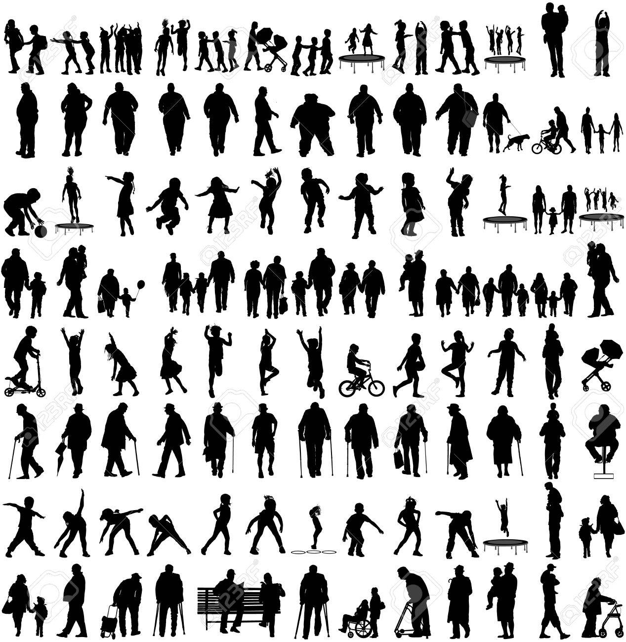 Big set of people silhouettes, children,parents,seniors, .Family groups, couples vector silhouette illustration isolated on white background. Fathers day. Fat persons. Older people, health care group. - 67480572