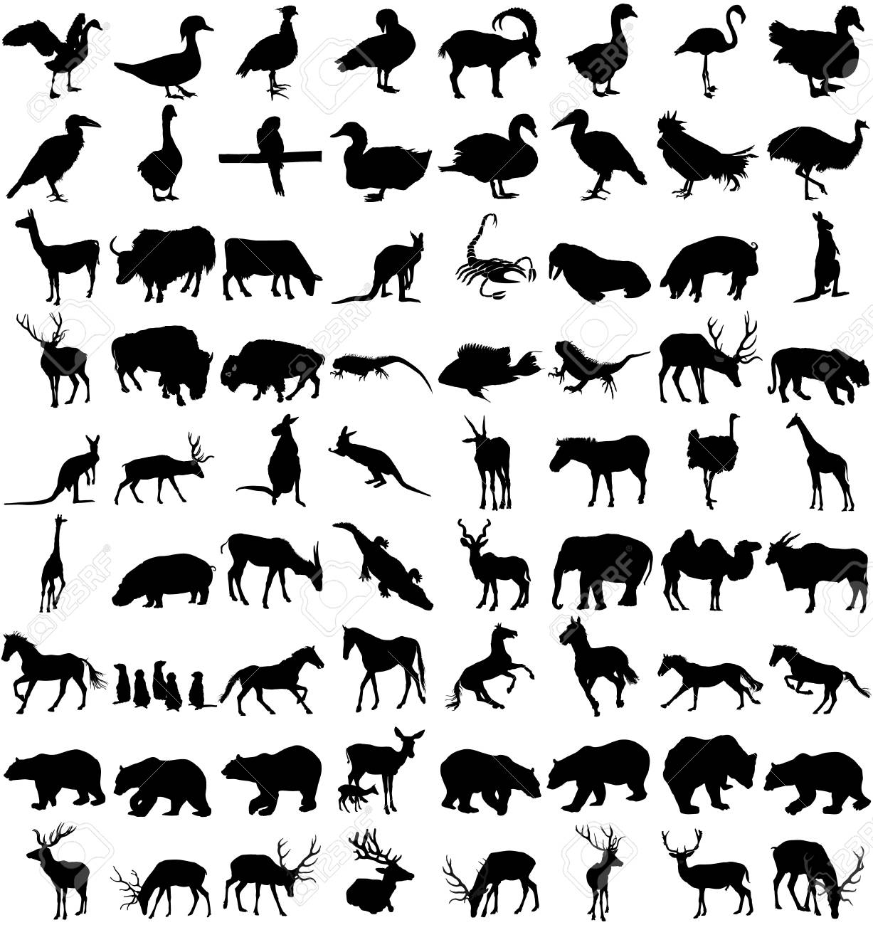 白い背景の動物のシルエットの大きなセットをベクトル、ベクトル