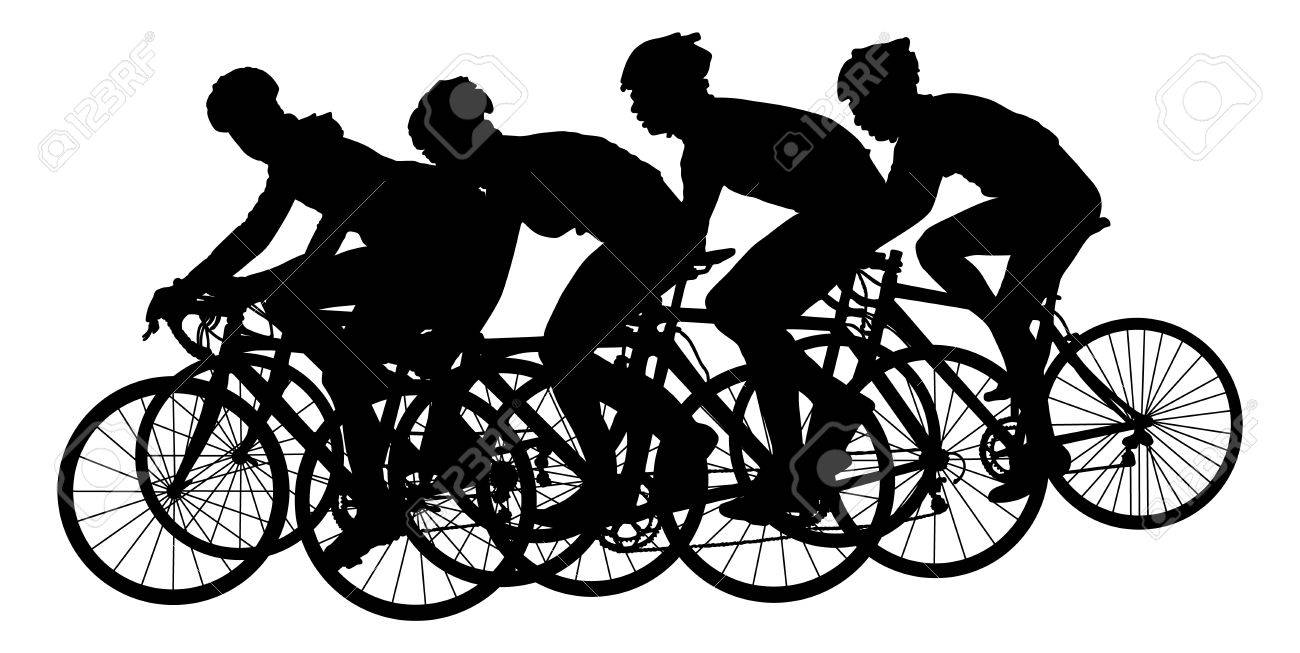 Group of bicyclists in race riding a bicycle isolated against white background silhouette vector illustration. Sport tourist company friends on bicycles . Silhouette people, mountain bike. Friendship. - 67805309