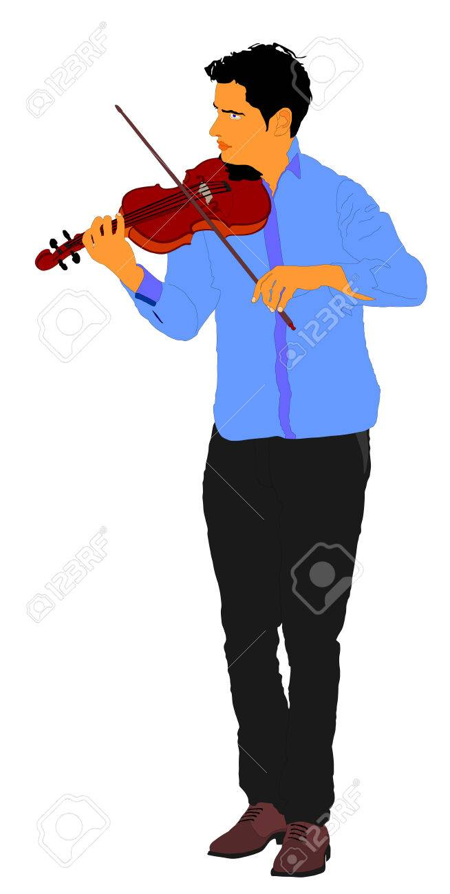 Young man playing violin isolated on white background. - 71316875