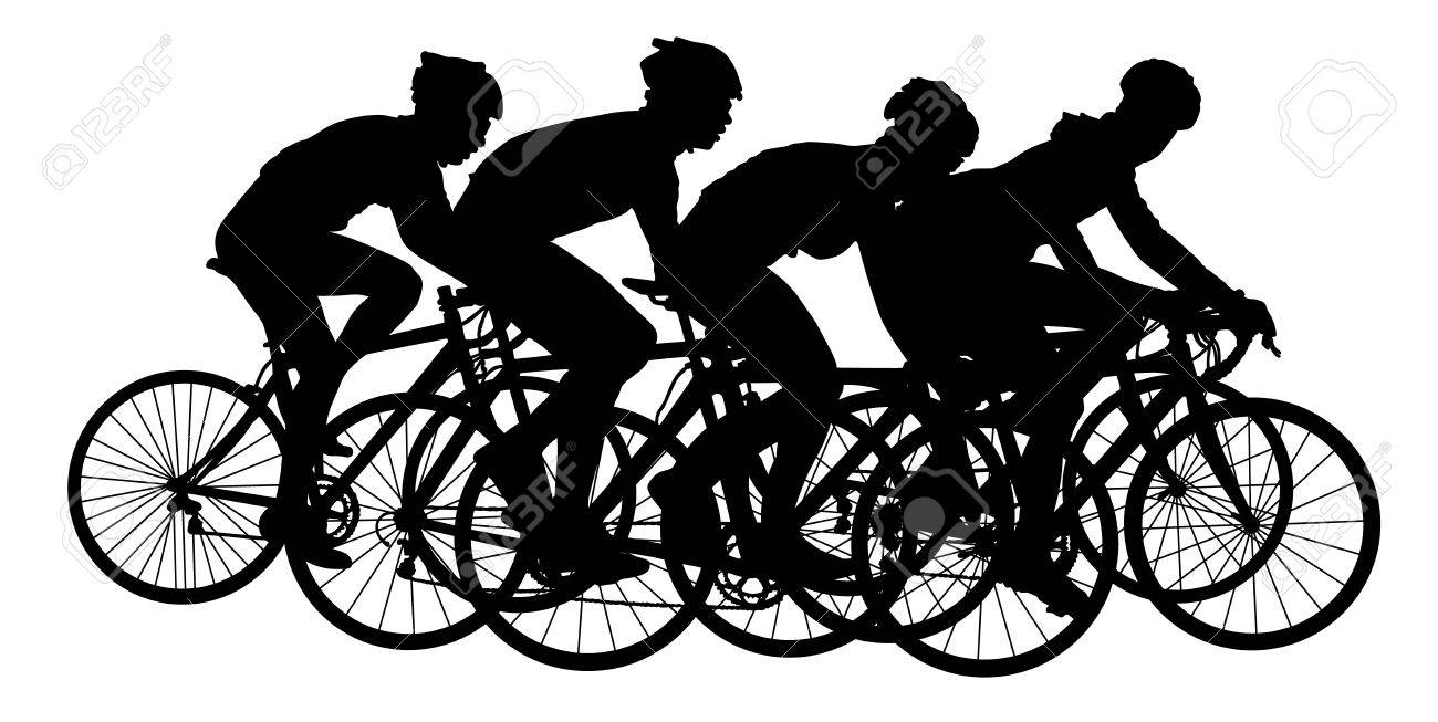Group of bicyclists in race riding a bicycle isolated against white background silhouette vector illustration. Sport tourist company friends on bicycles . Silhouette people, mountainbike. Friendship. - 60852295