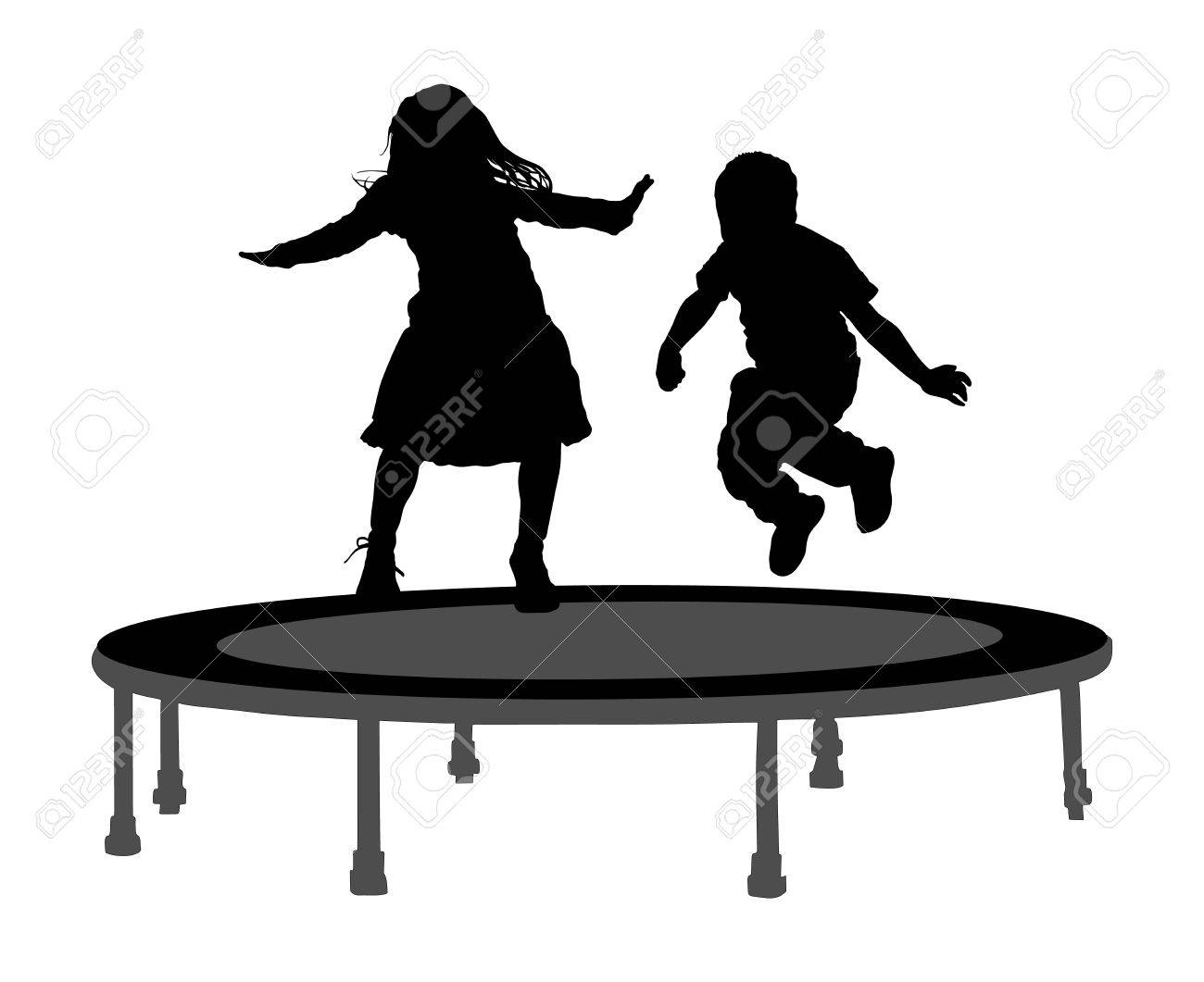 Children silhouettes jumping on garden trampoline vector illustration. Happy girl and boy jumping on trampoline. - 61491449