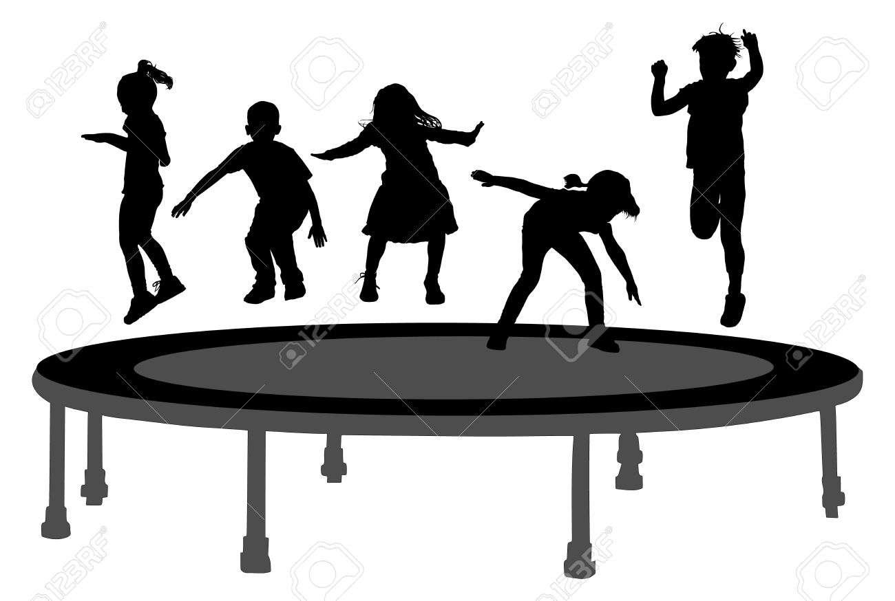 Children silhouettes jumping on garden trampoline vector illustration. Happy girls and boys jumping on trampoline. - 61491447