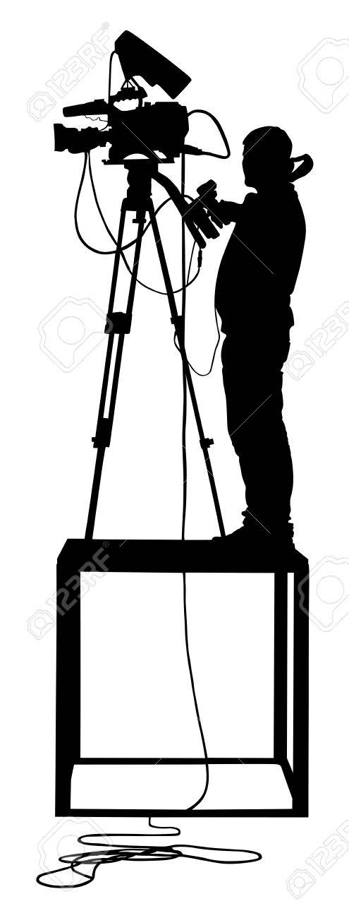 Cameraman silhouette with video camera on event, concert, sport event, isolated on background. Vector illustration. Breaking news in studio. Broadcast il live. - 60856420