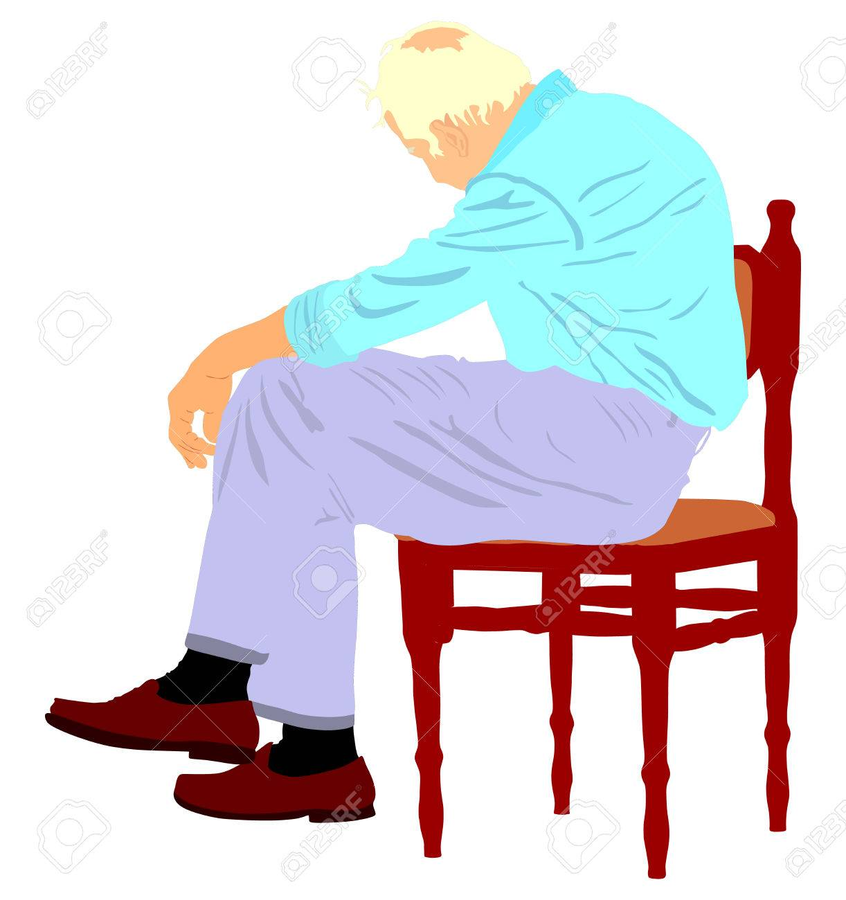 Lonely Old Man Sitting On Chair In Vector Illustration Worried Senior Person Desperate Retiree
