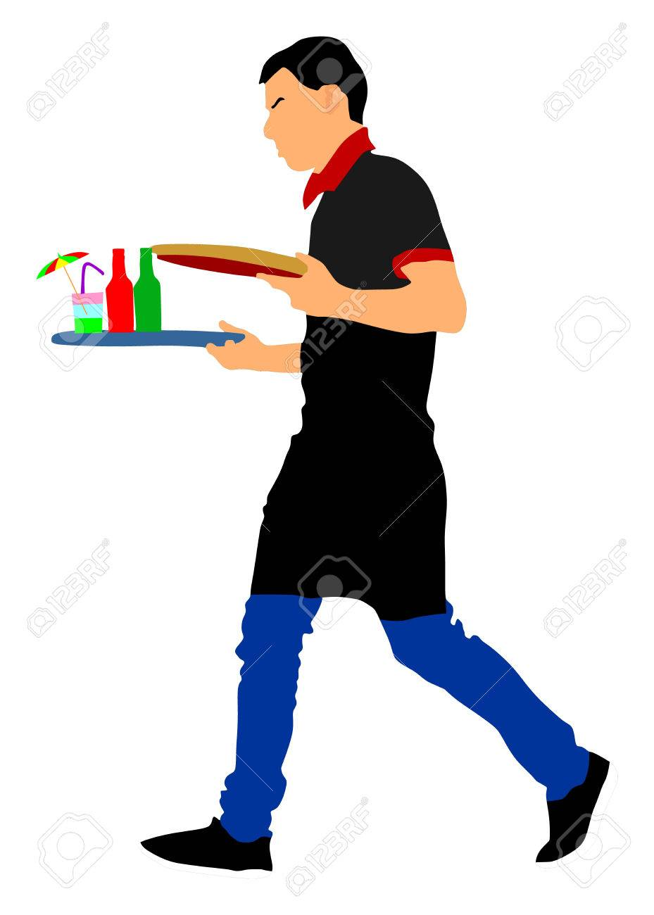 Barmen, waiter with empty and full trays, vector illustration on the white background. Servant in restaurant taking orders. - 68881711
