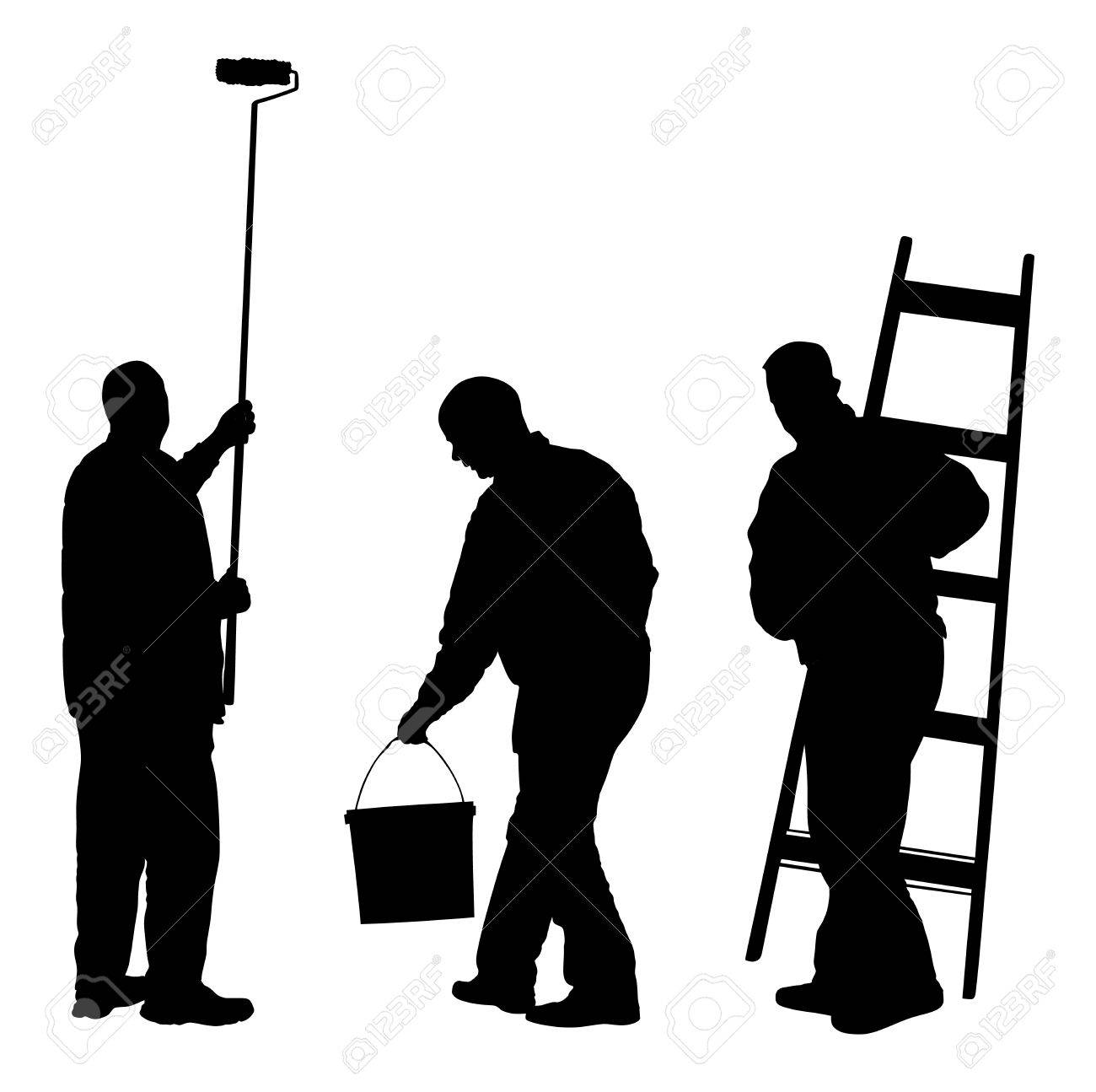 Painters Painting At Work Silhouette Illustration Isolated On