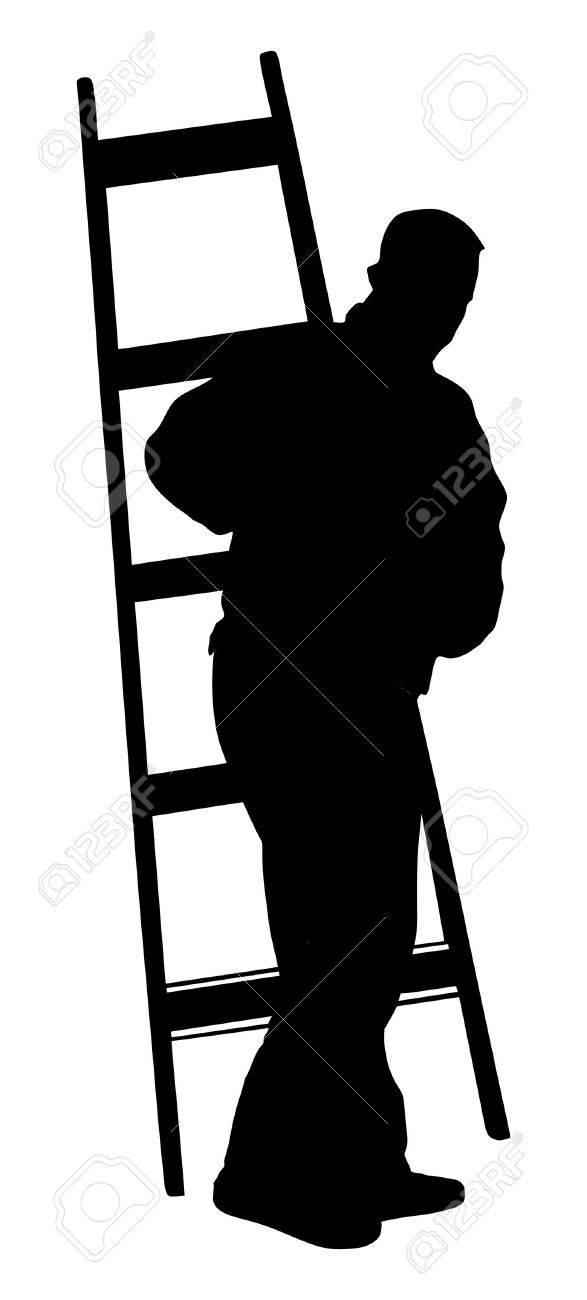 Painter at work with ladder vector silhouette illustration isolated on white background. painter man at work with a roller, bucket. - 60864829