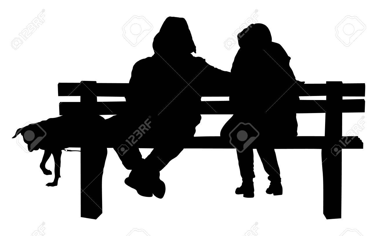 Couple On A Bench With Dog - Two Lovers Sitting On A Bench In ... for People On Bench Silhouette  54lyp