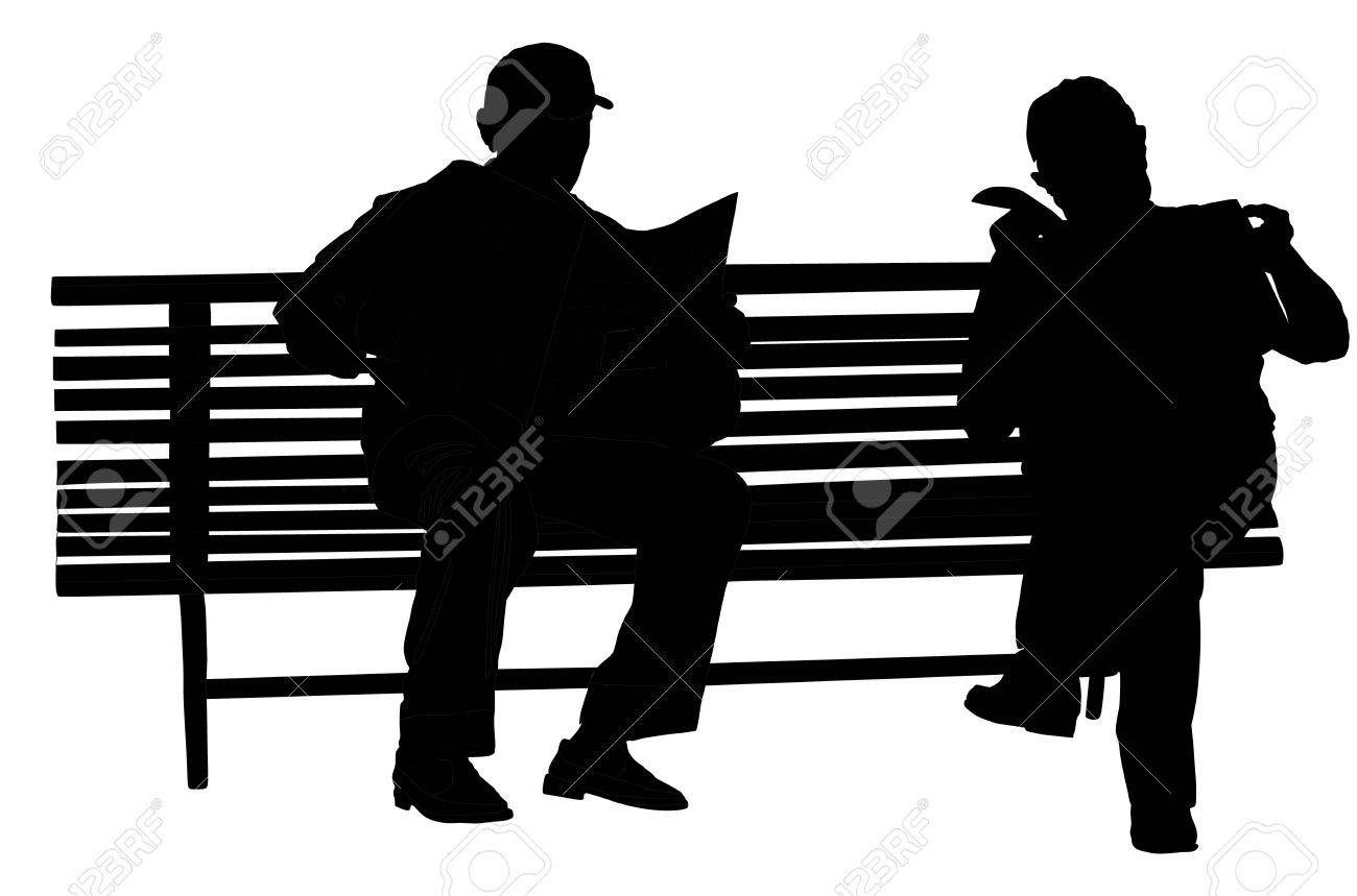 Two Pensioners Read Newspapers On The Bench In The Park. Vector ... for People On Bench Silhouette  117dqh
