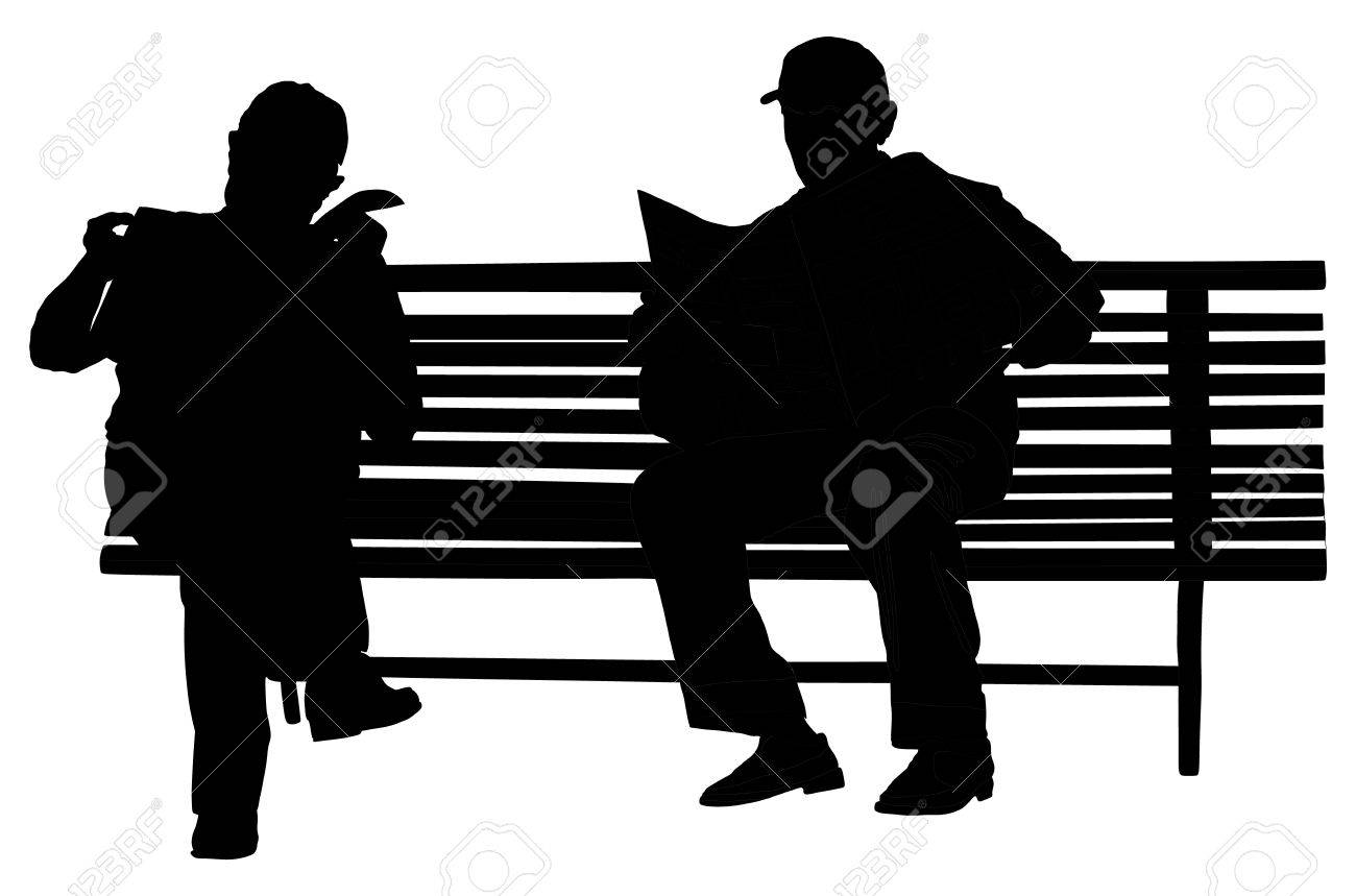 Two Pensioners Read Newspapers On The Bench In The Park. Vector ... for People On Bench Silhouette  75tgx