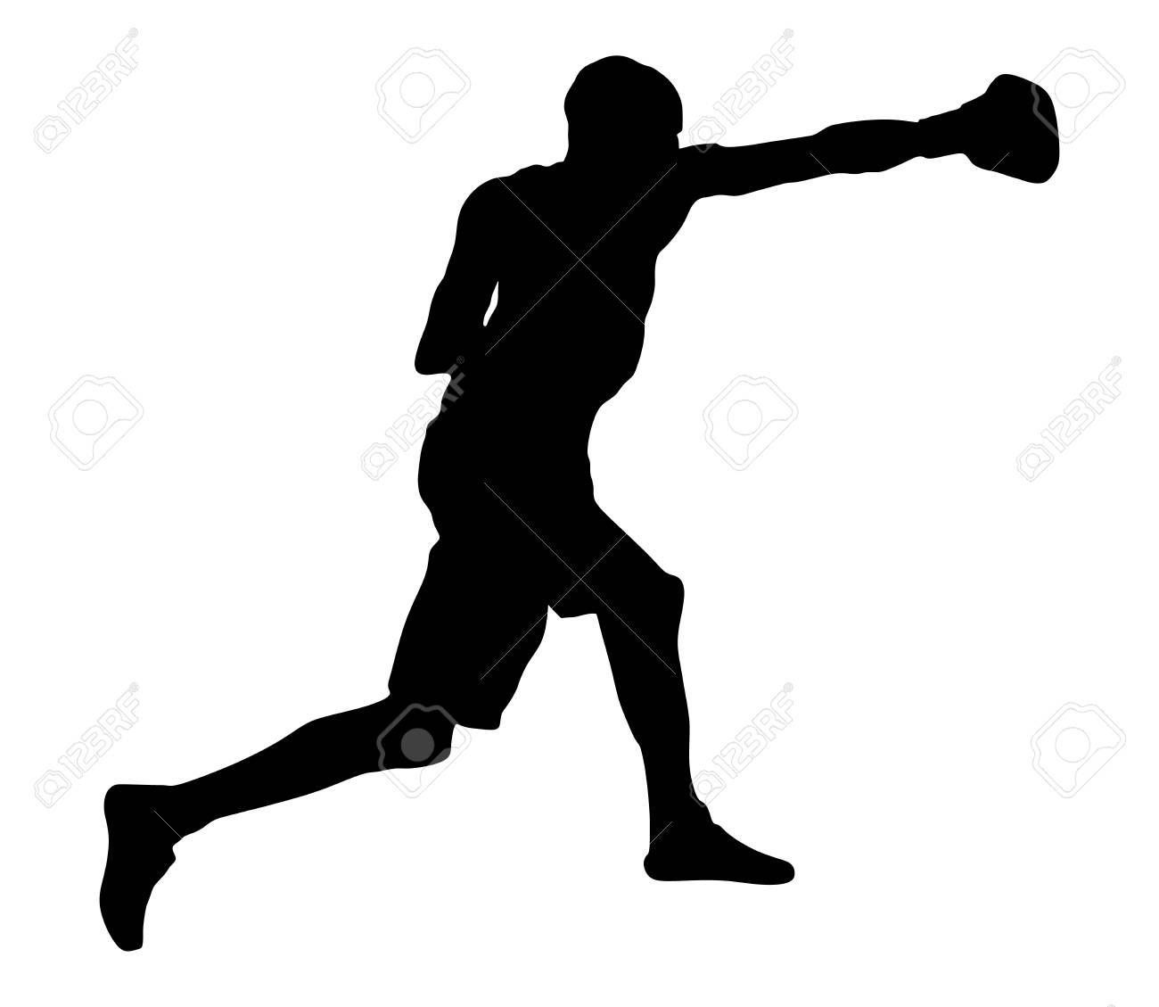 リング ベクトル シルエット イラスト白い背景で隔離のボクサー