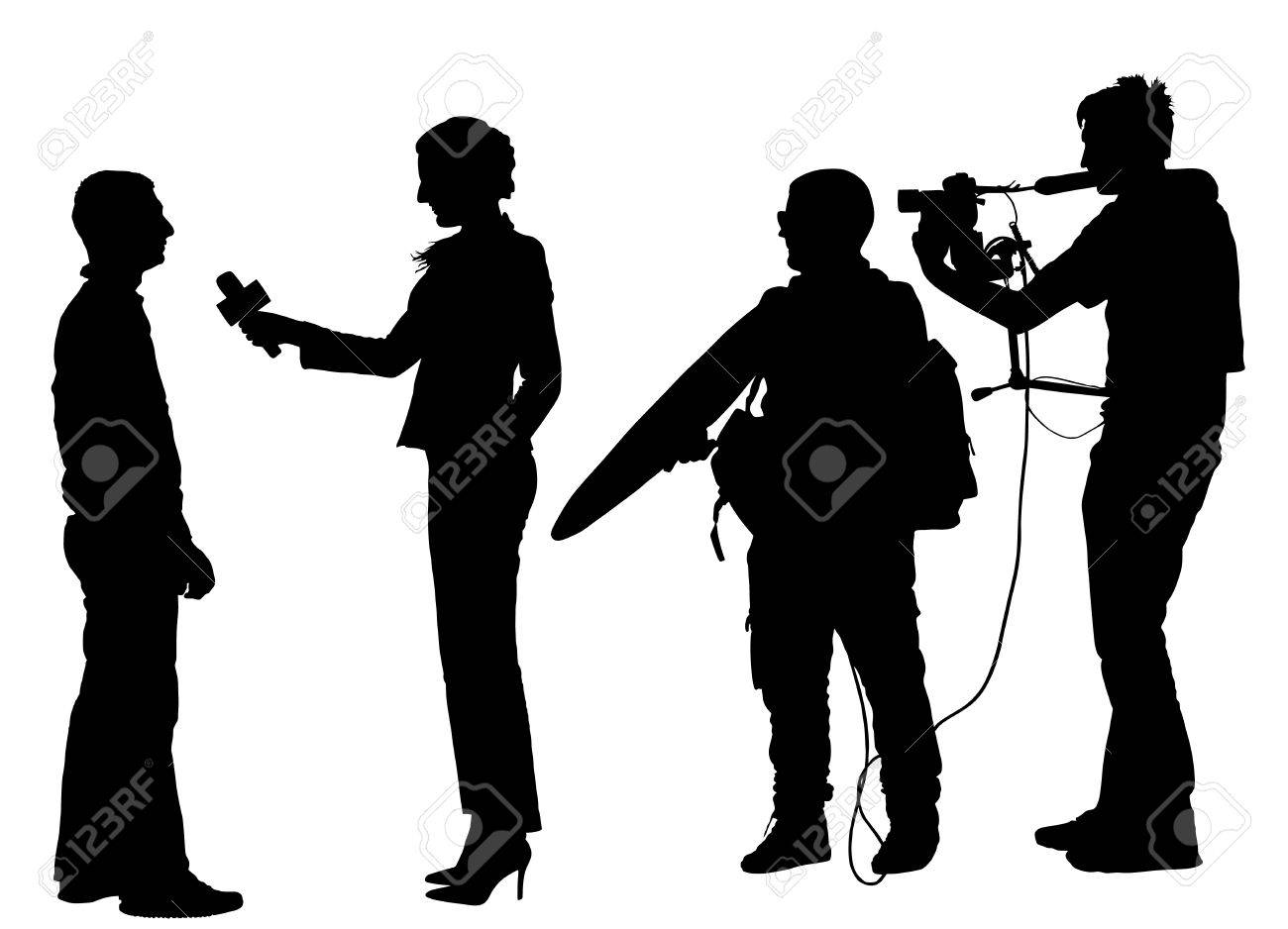 Journalist News Reporter Interview with camera crew vector silhouette illustration isolated on white background. - 60865271